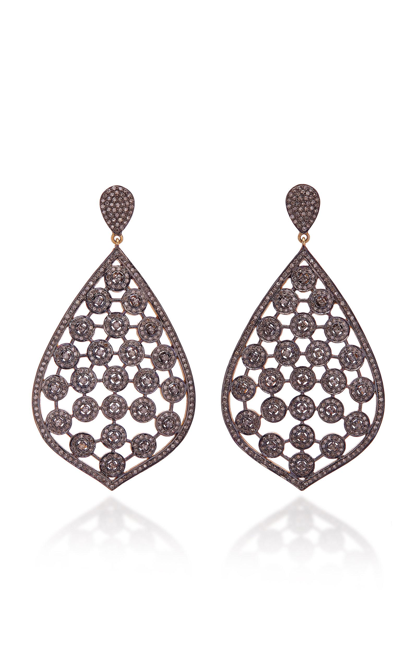 SANJAY KASLIWAL 14K Gold Silver And Pavé Diamond Earrings in Grey