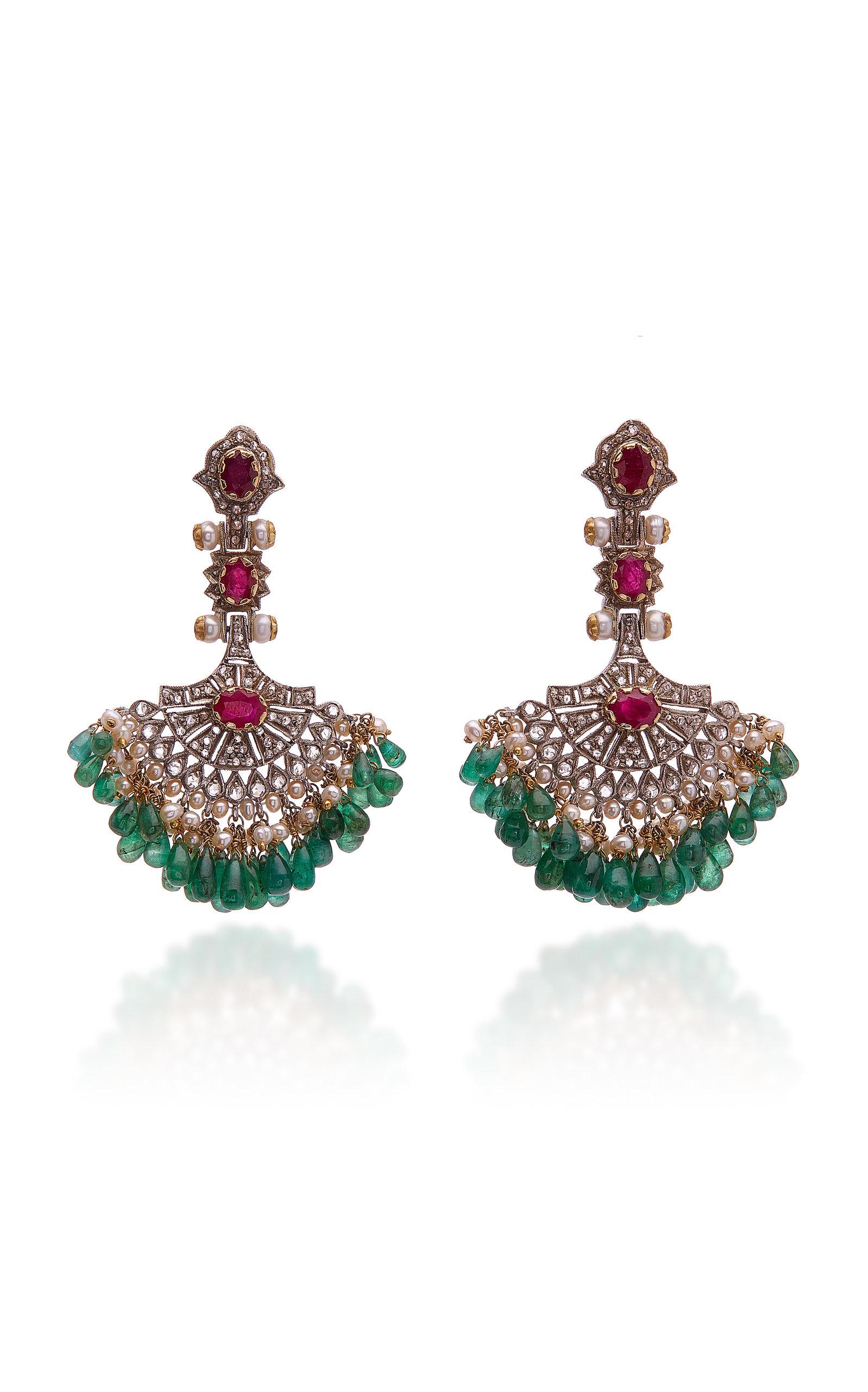 SANJAY KASLIWAL 18K Gold Silver And Multi-Stone Earrings