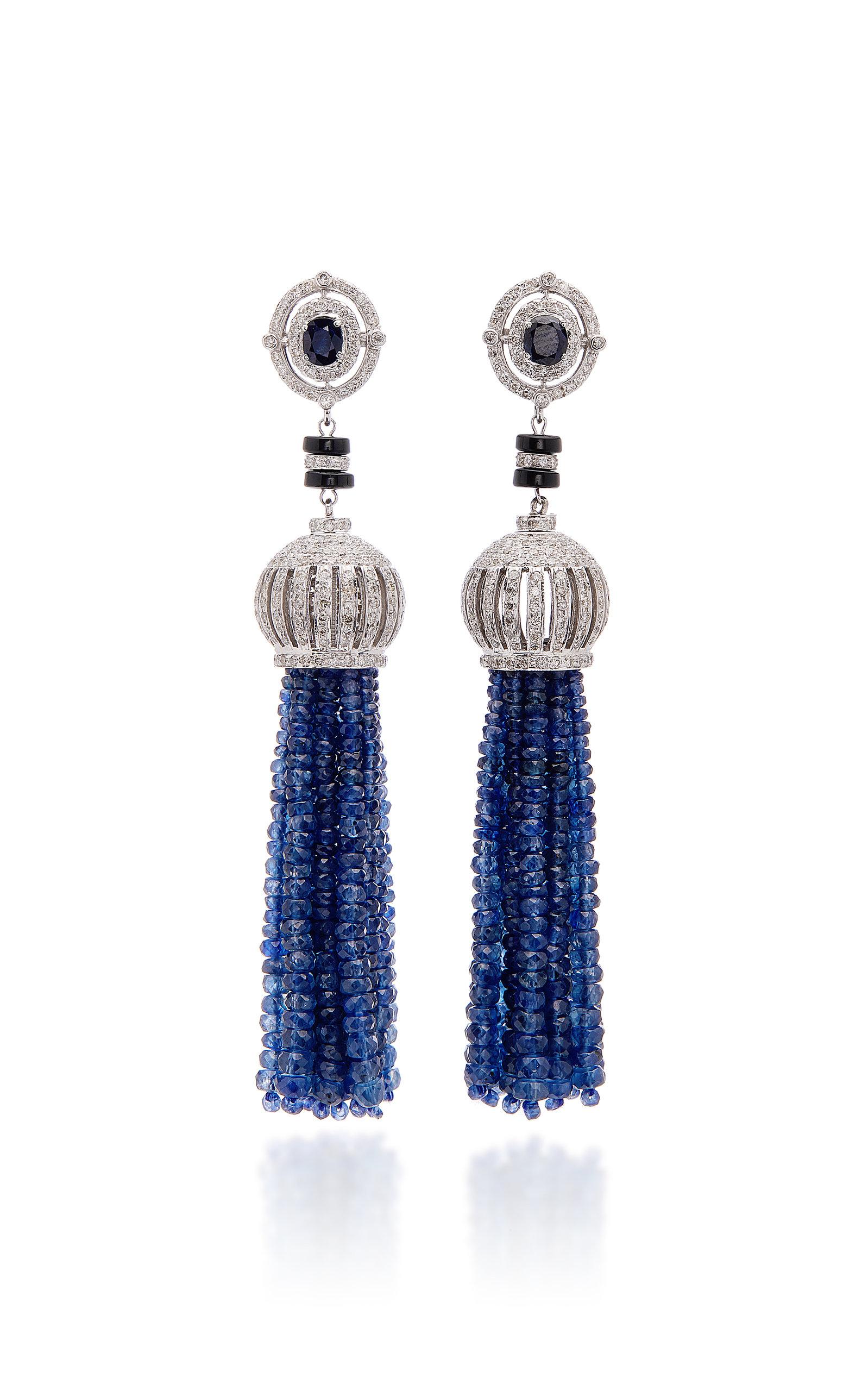 SANJAY KASLIWAL 18K White Gold Sapphire And Diamond Earrings in Blue