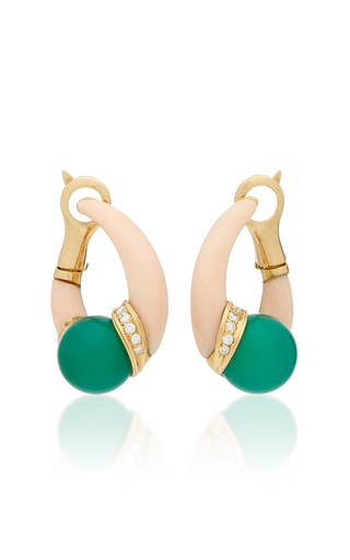 GIOIA | Gioia Vintage 18K Gold Coral Chrysophrase and Diamond Earrings | Goxip