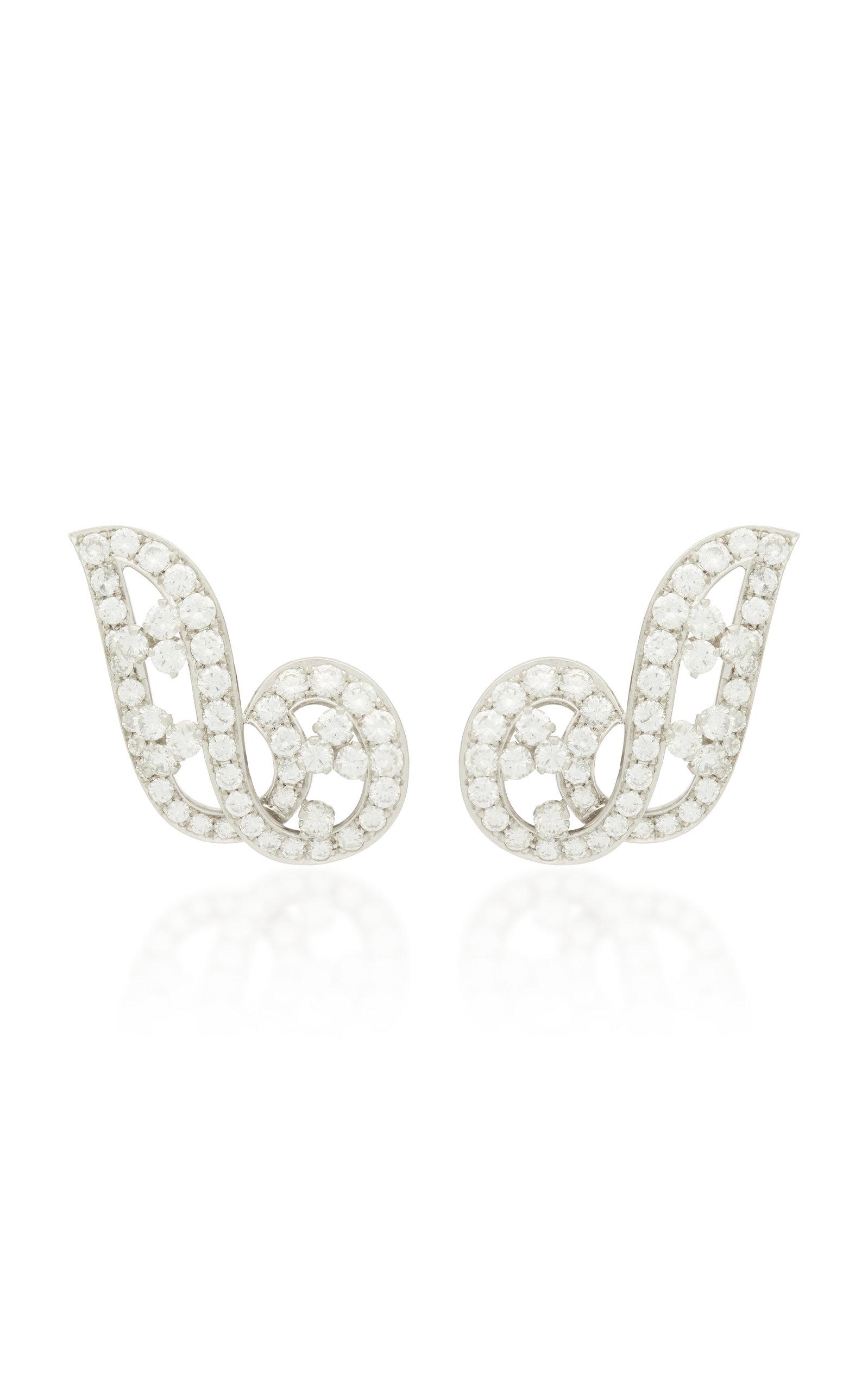 GIOIA | Gioia Vintage Platinum And Diamond Earrings | Goxip