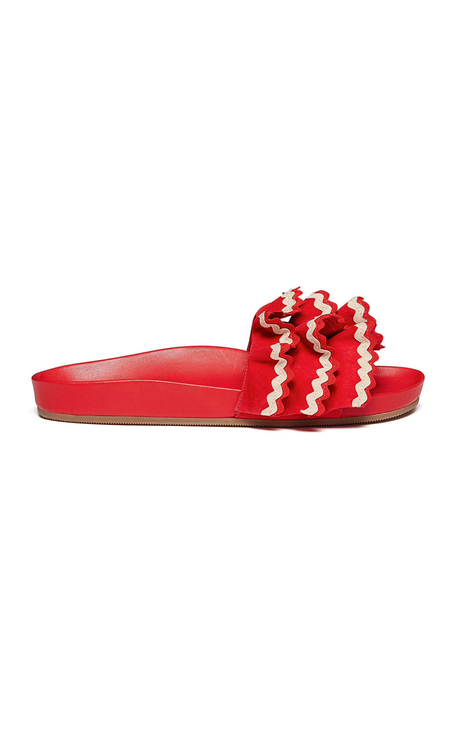 Olive Ruffled Rickrack-Trimmed Suede And Leather Slides in Red
