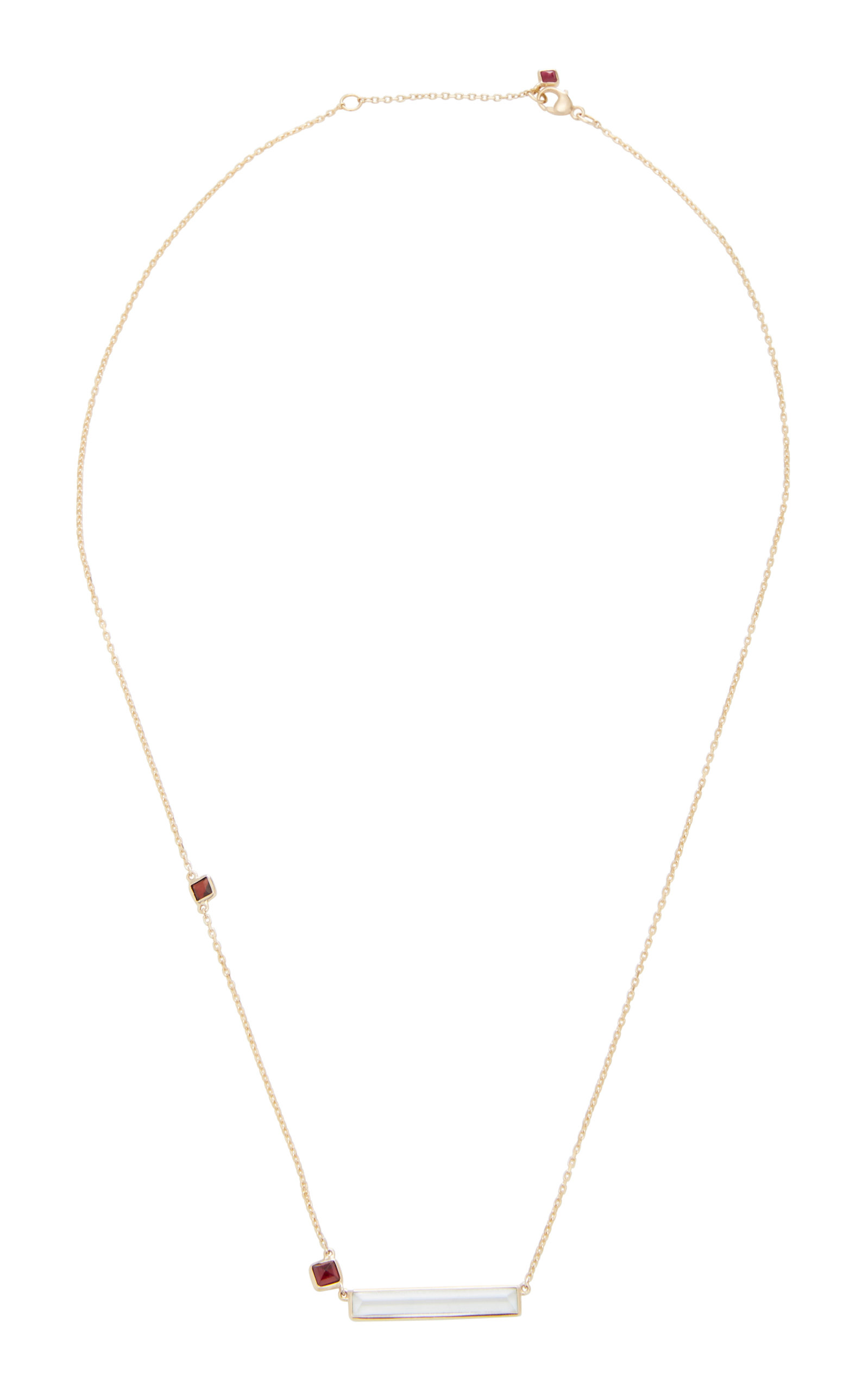 YI COLLECTION | Yi Collection 18K Gold Aquamarine And Ruby Necklace | Goxip