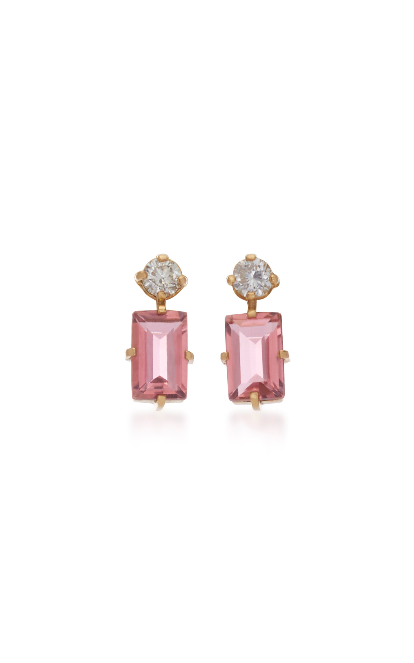 YI COLLECTION 18K Gold Pink Tourmaline And Diamond Earrings