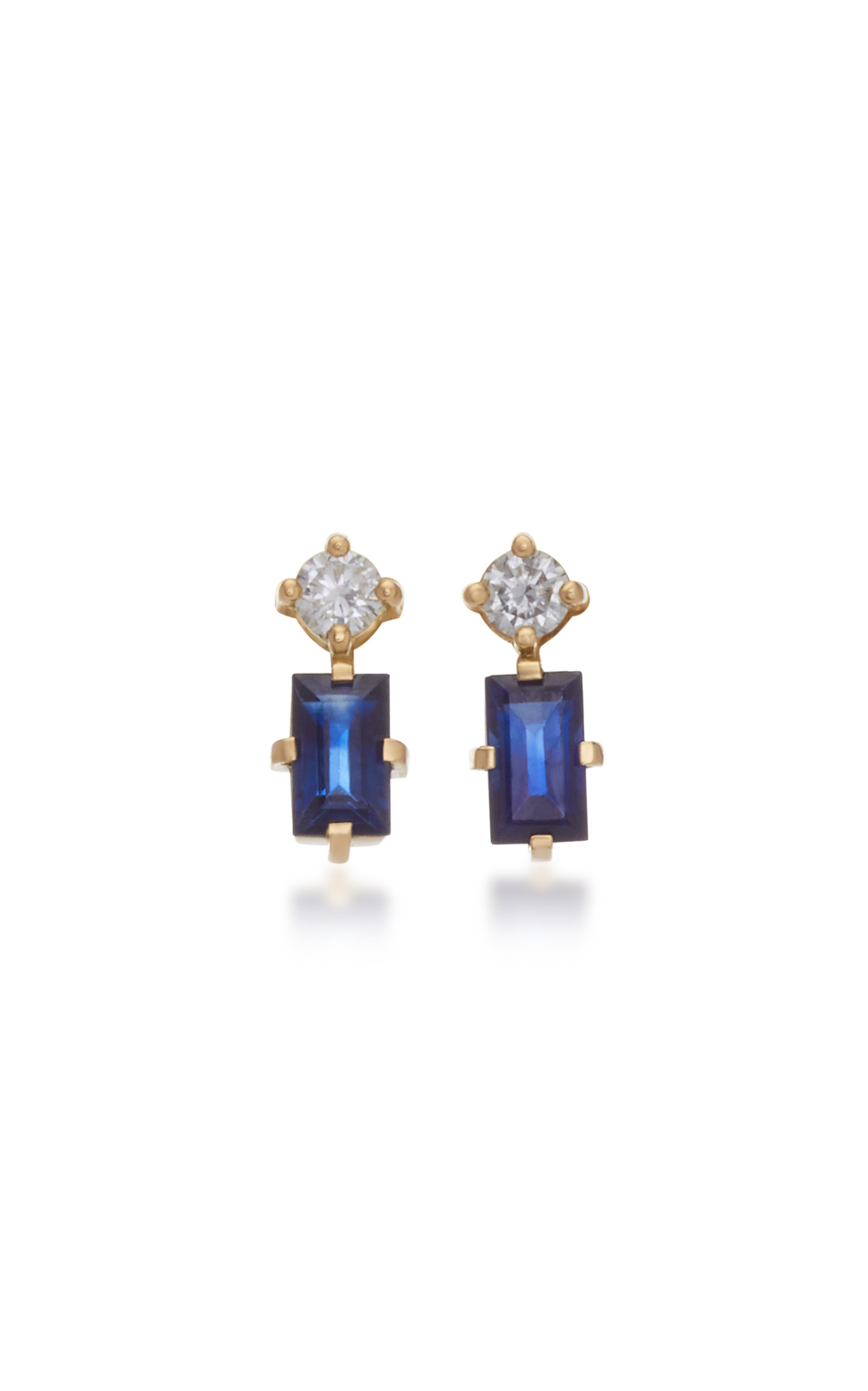 YI COLLECTION 18K Gold Sapphire And Diamond Earrings in Navy