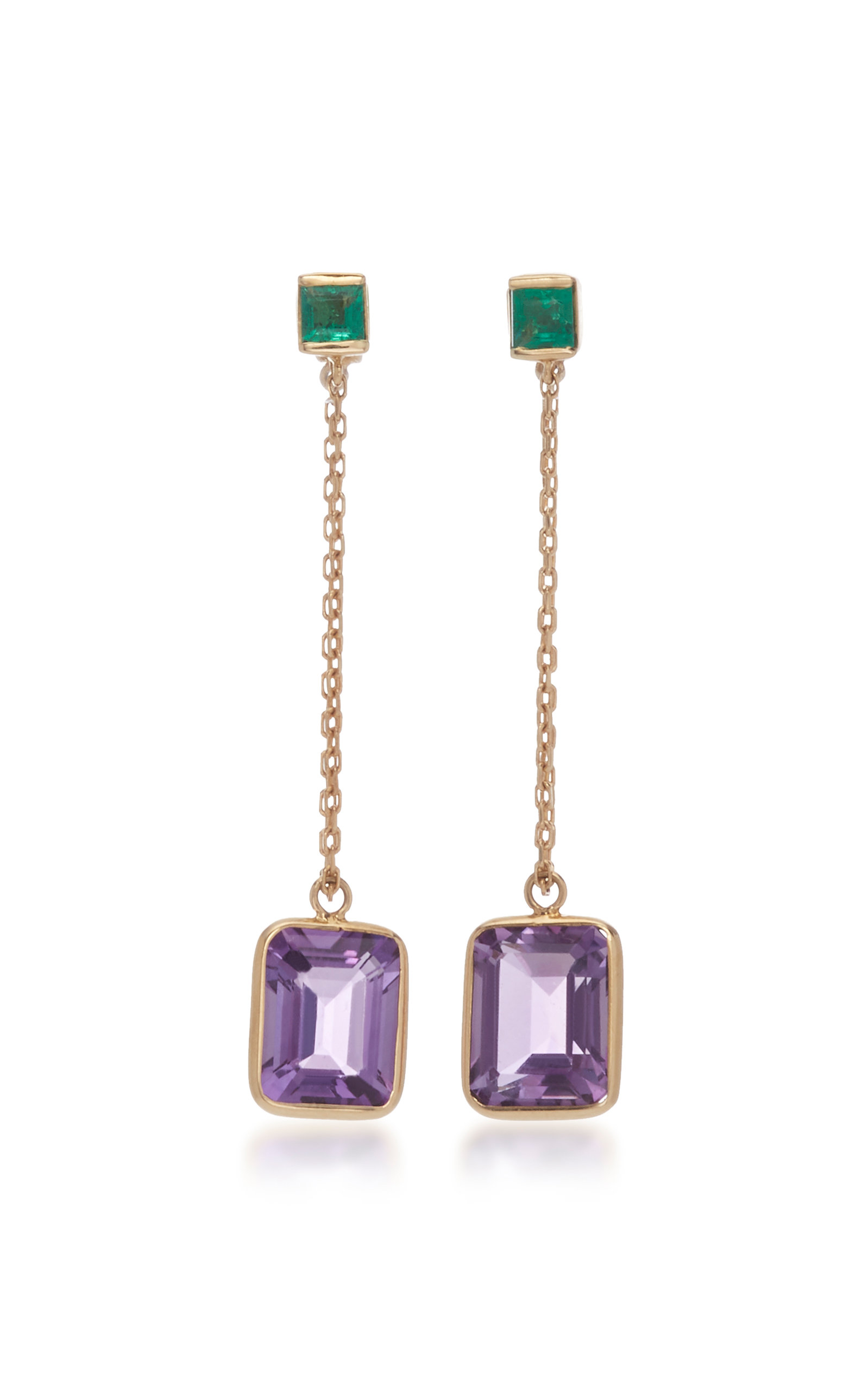 YI COLLECTION 18K Gold Emerald And Amethyst Chain Earrings in Purple