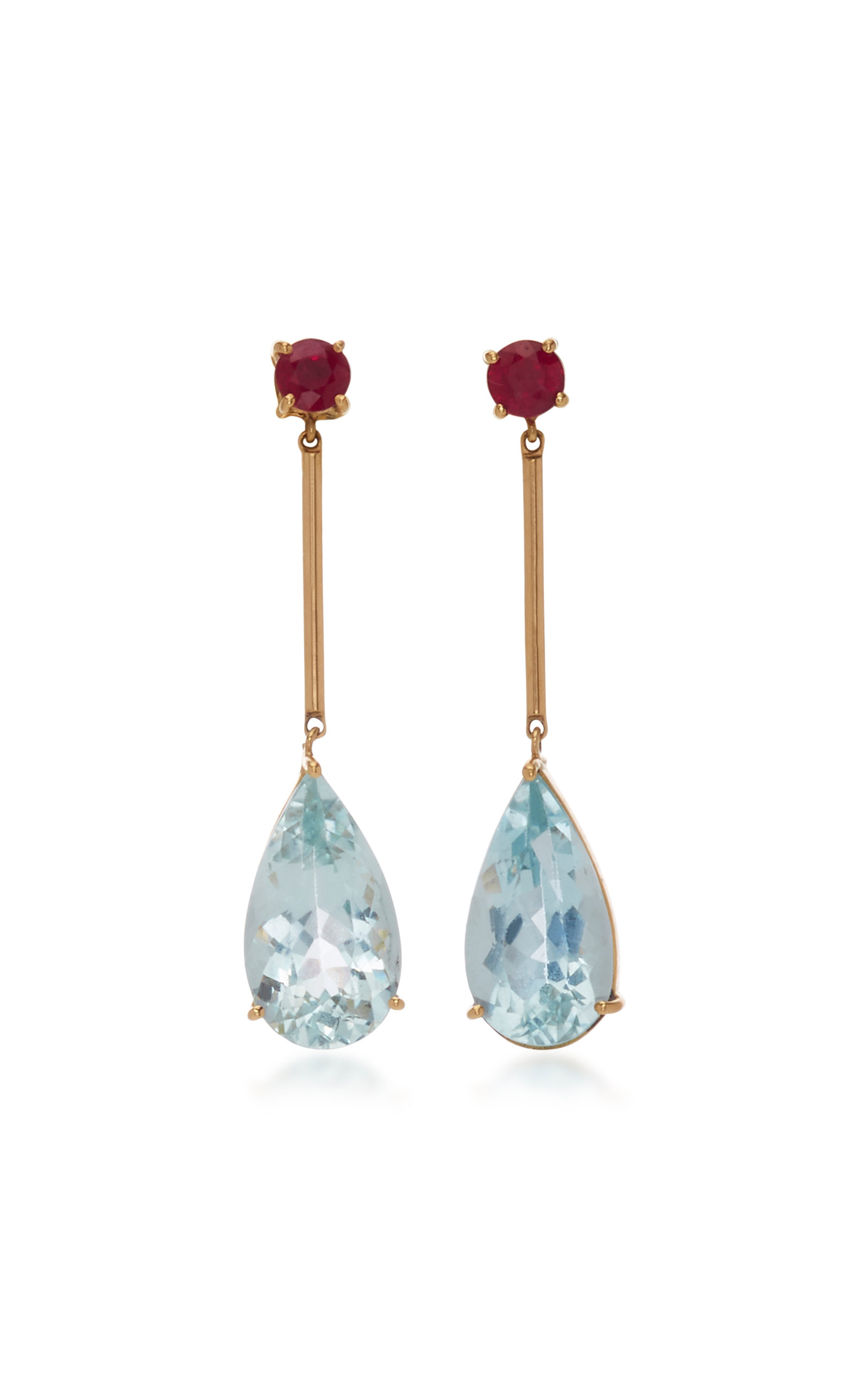 YI COLLECTION 18K Gold Aquamarine And Ruby Earrings in Blue