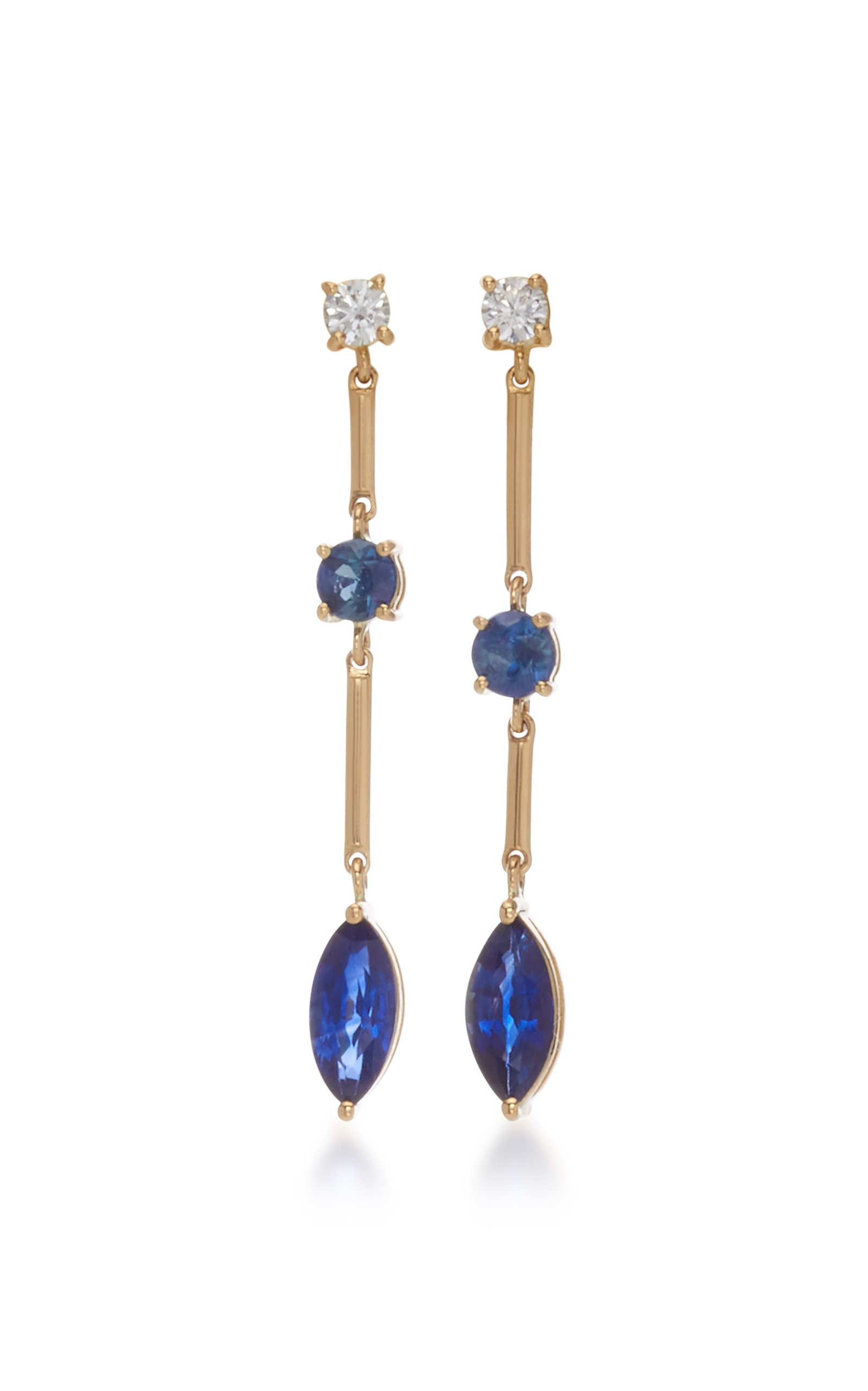 YI COLLECTION 18K Gold Sapphire And Diamond Earrings in Blue