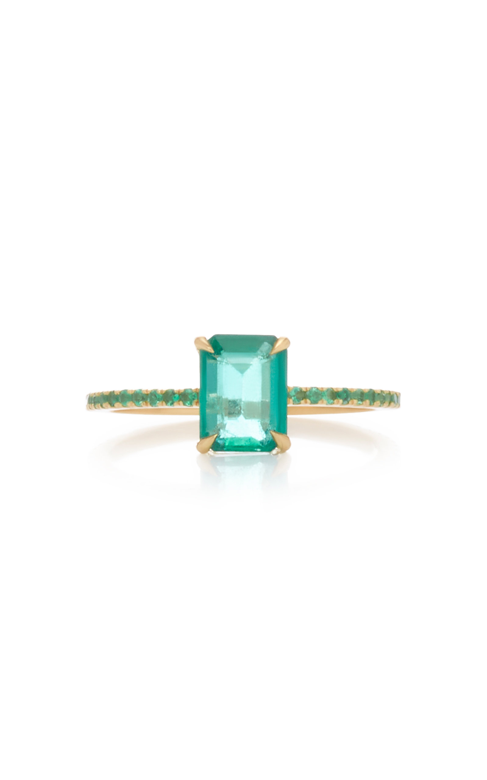 YI COLLECTION 18K Gold Emerald Ring in Green