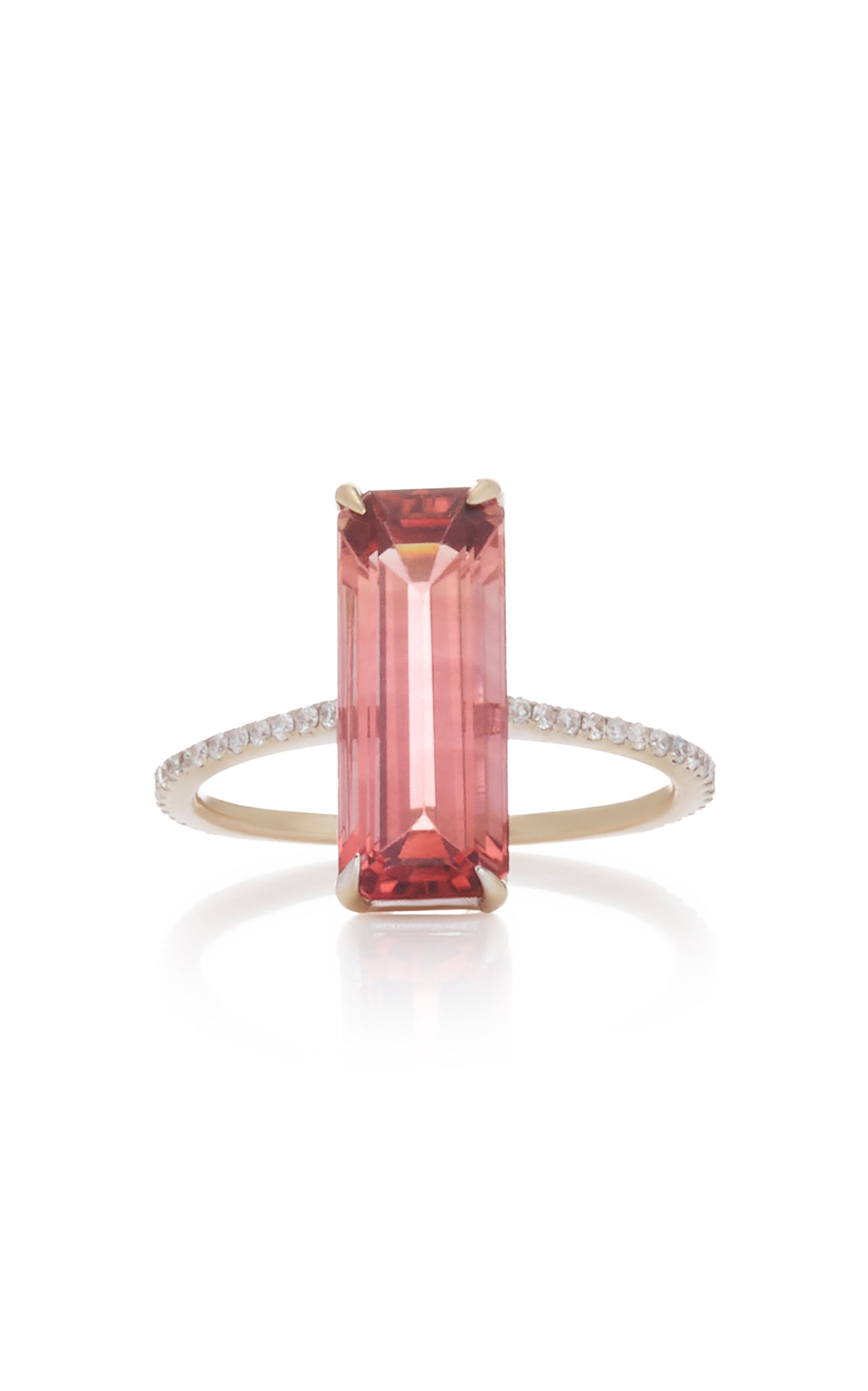 YI COLLECTION 18K Gold Tourmaline And Diamond Deco Ring in Pink