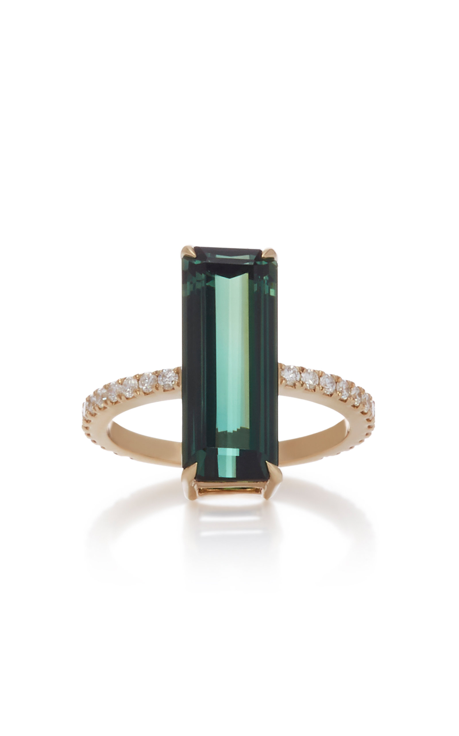 YI COLLECTION 18K Gold Tourmaline And Diamond Deco Ring in Green