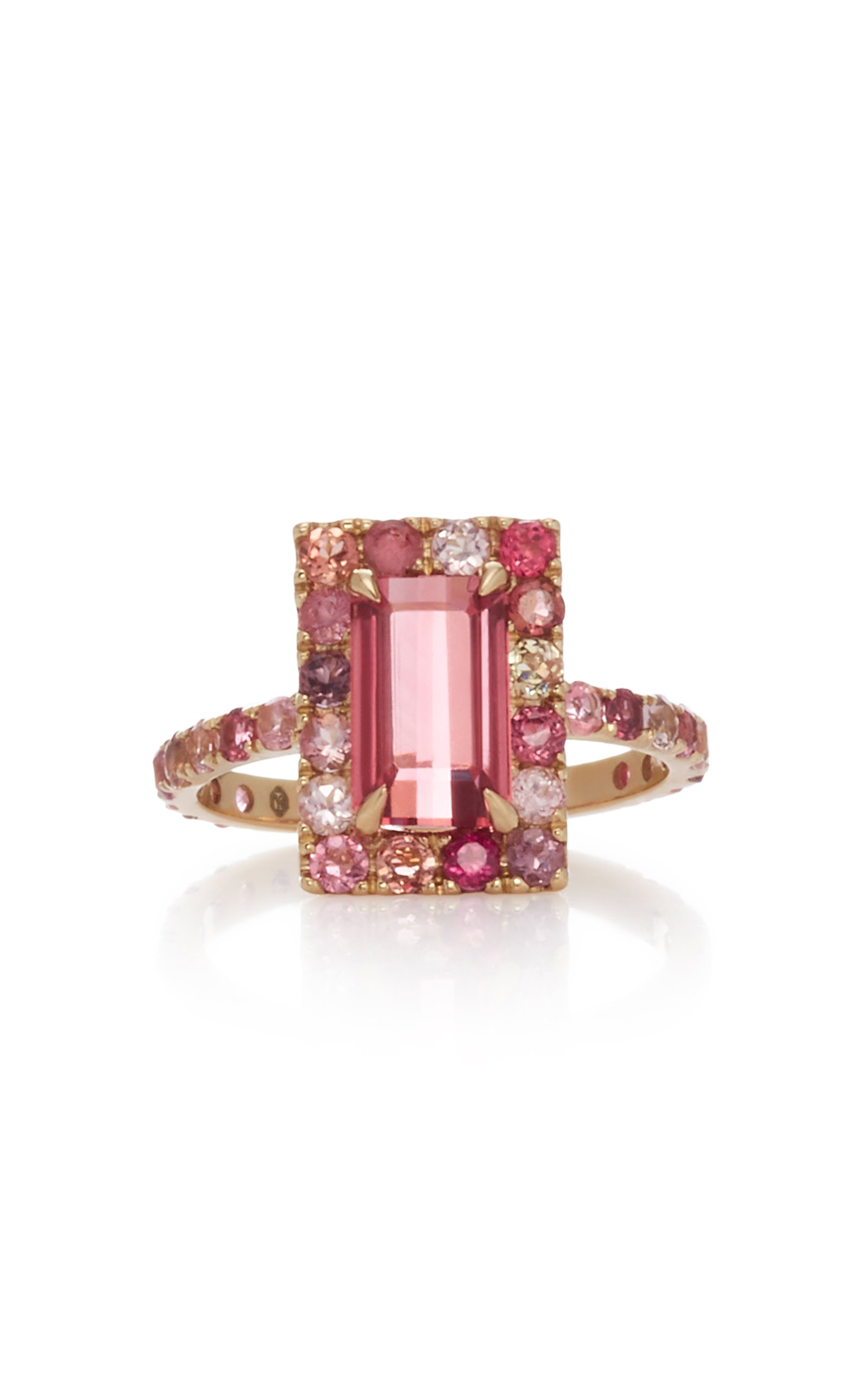 YI COLLECTION 18K Gold Tourmaline Ring in Pink