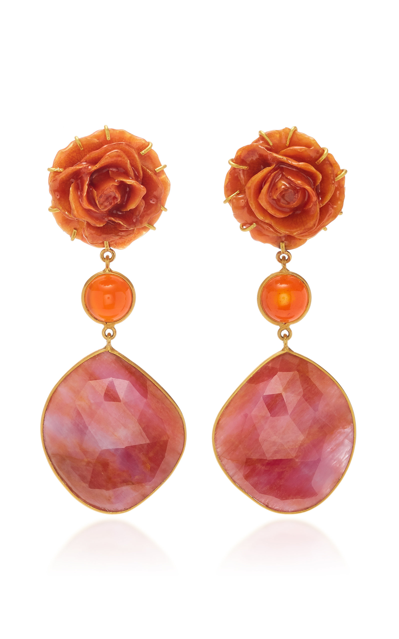 BAHINA 18K Gold Rose Carnelian And Sapphire Earrings in Red