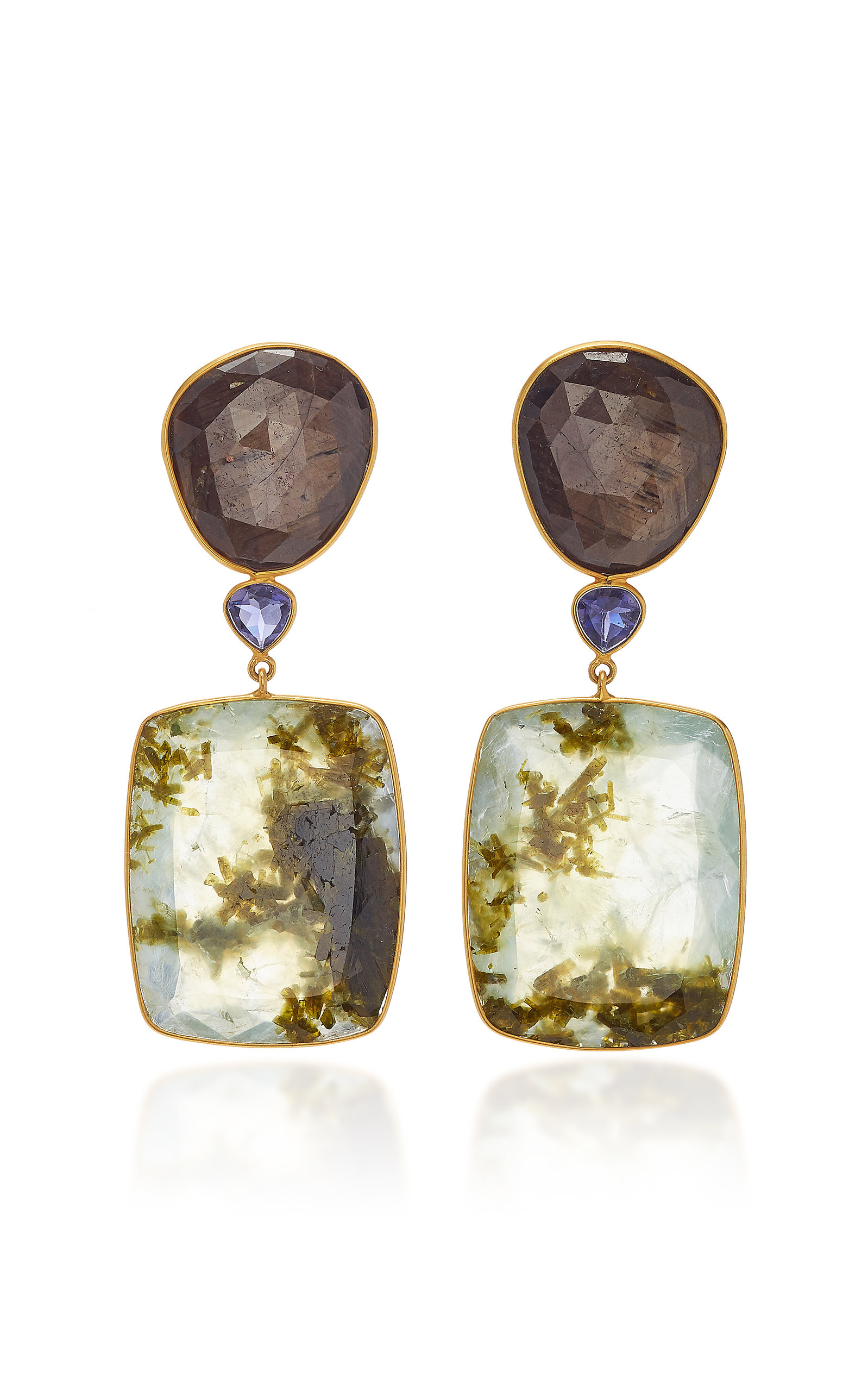 BAHINA 18K Gold Sapphire Iolith And Praynite Earrings in Green