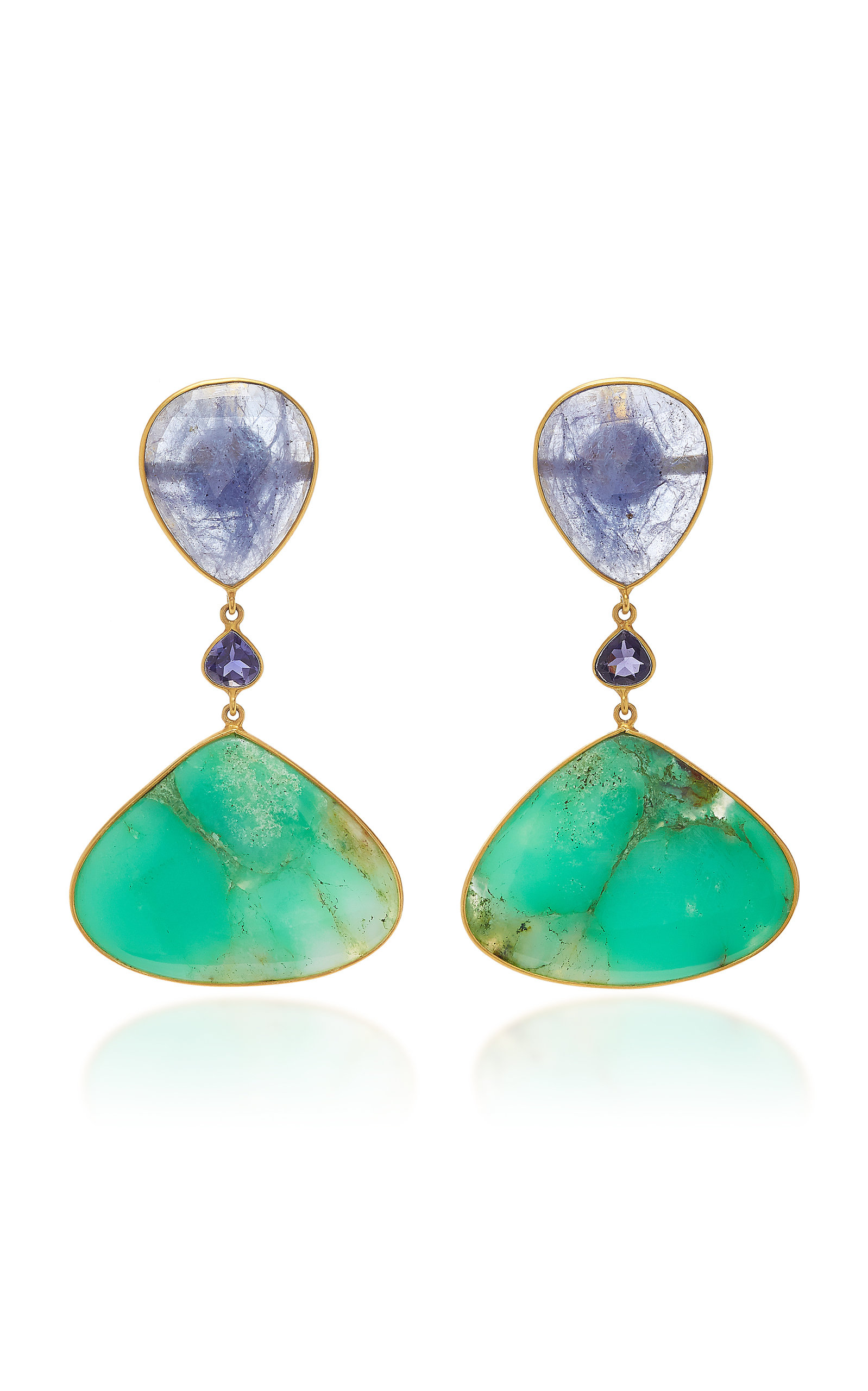 BAHINA 18K Gold Tanzanite Iolith And Chrysoprase Earrings in Green