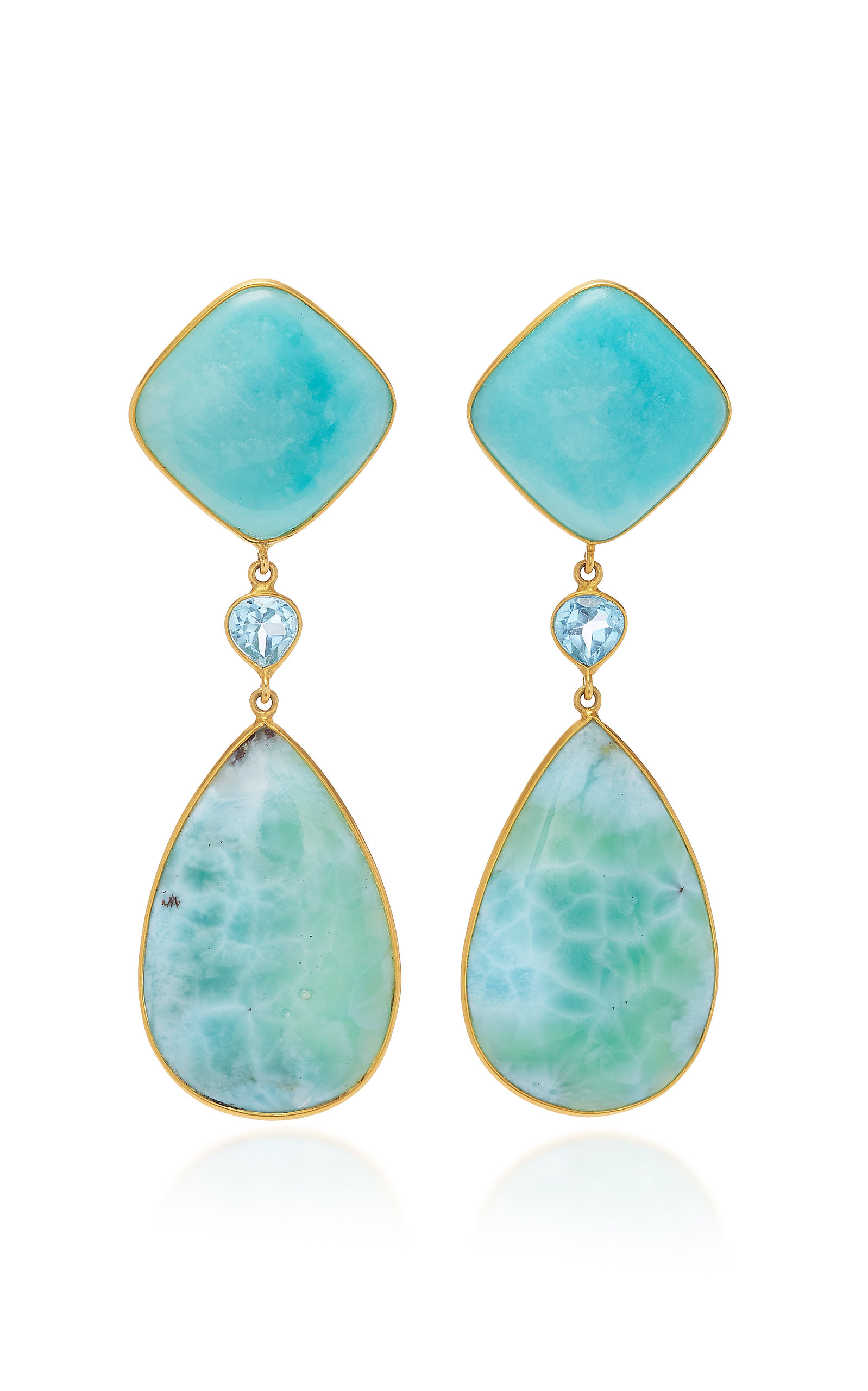 BAHINA 18K Gold Amazonite Topaz And Larimar Earrings in Blue