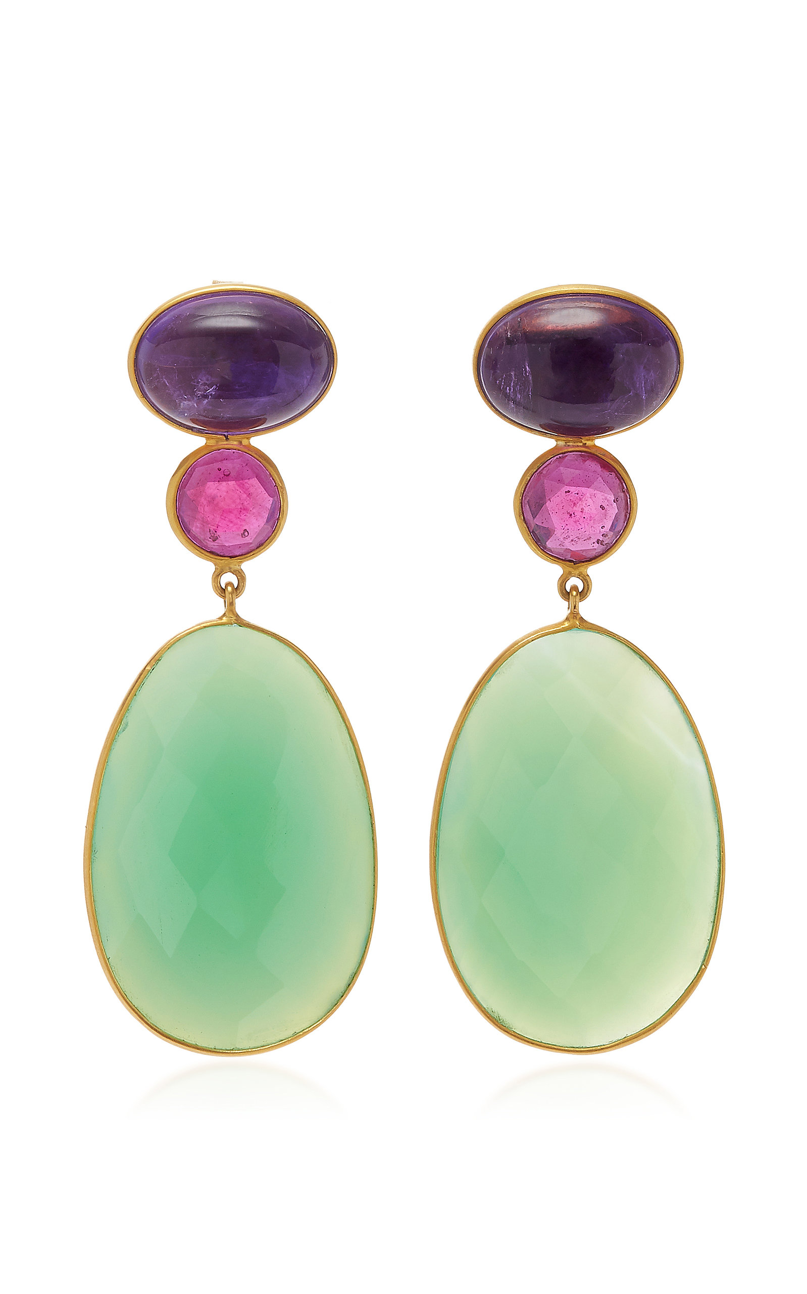 BAHINA 18K Gold Amethyst Ruby And Agathe Earrings in Green