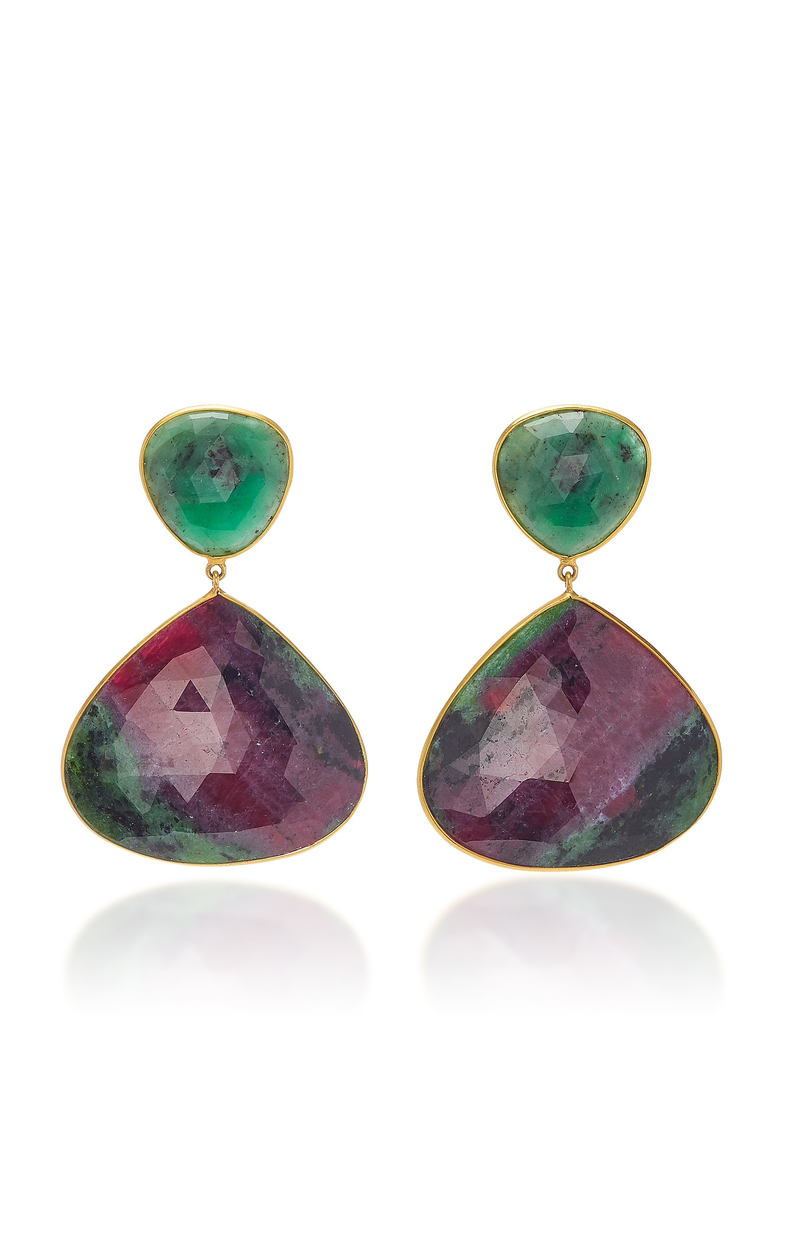 BAHINA 18K Gold Emerald And Ruby-In-Zoisite Earrings in Green