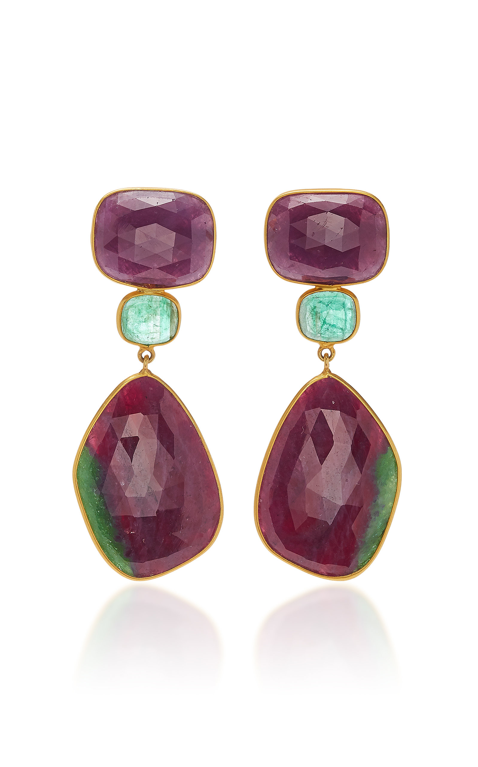 BAHINA 18K Gold Ruby And Emerald Earrings in Green