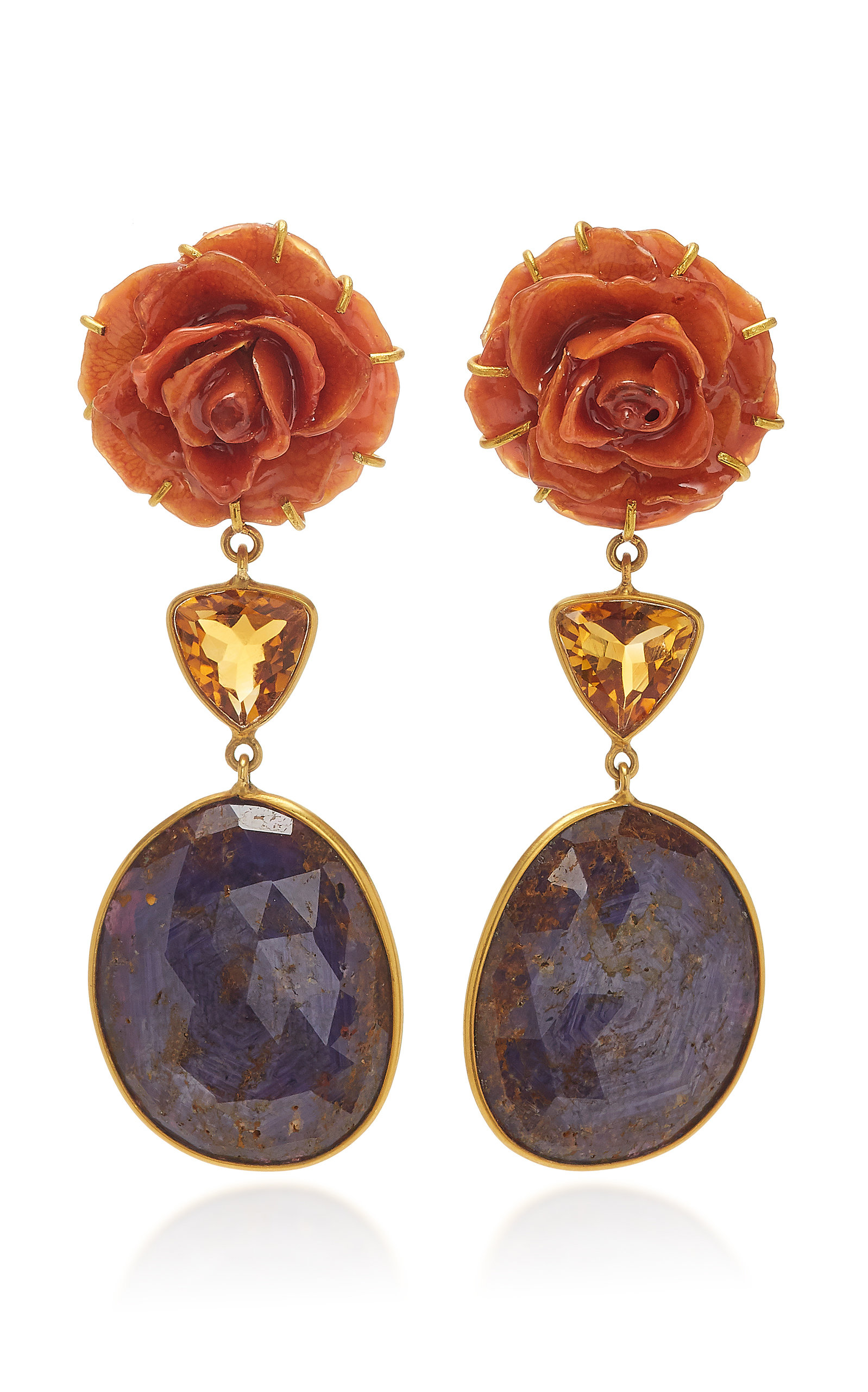 BAHINA 18K Gold Rose Citrine And Sapphire Earrings in Blue