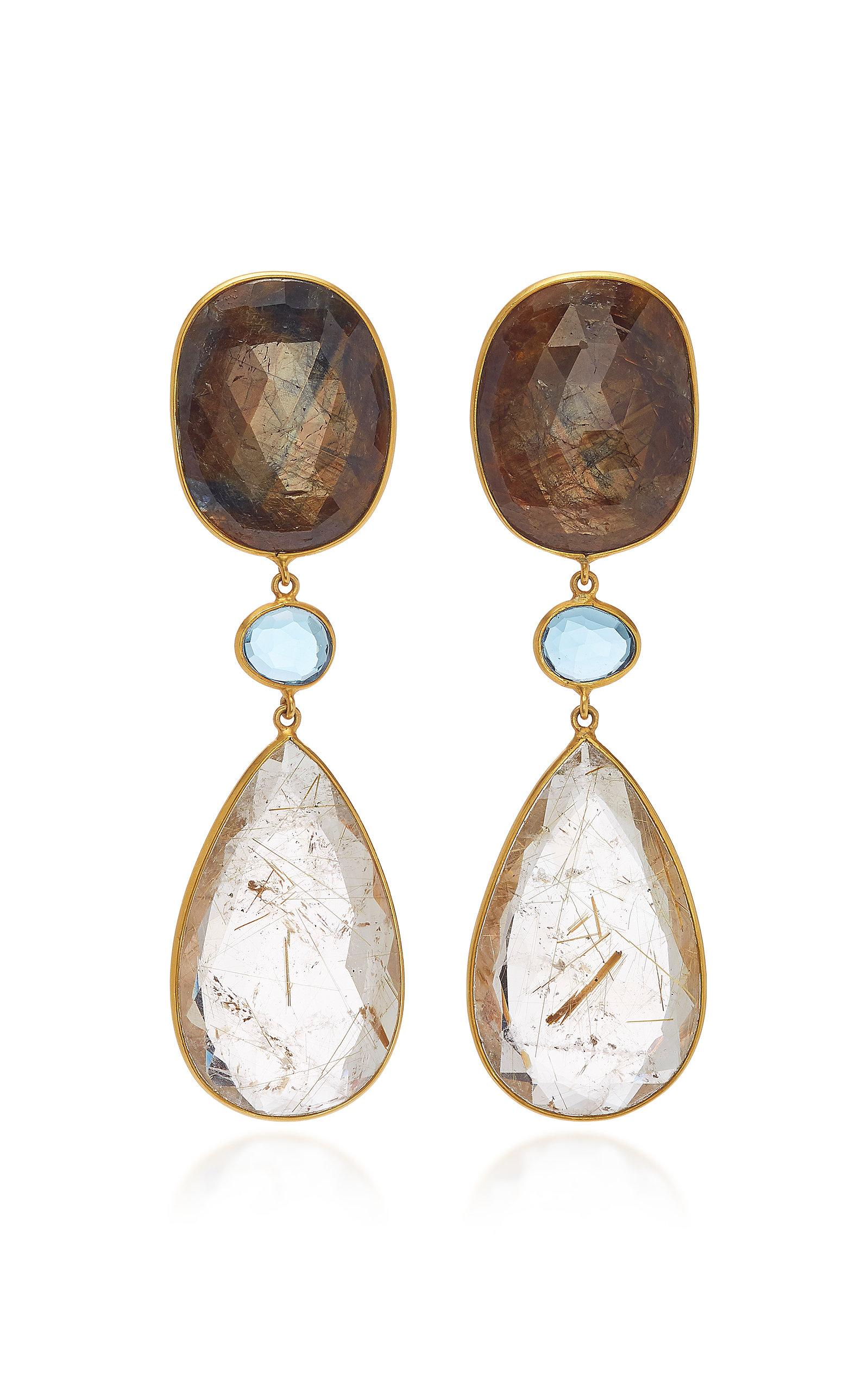 BAHINA 18K Gold Sapphire Topaz And Rutilated Quartz Earrings in Multi
