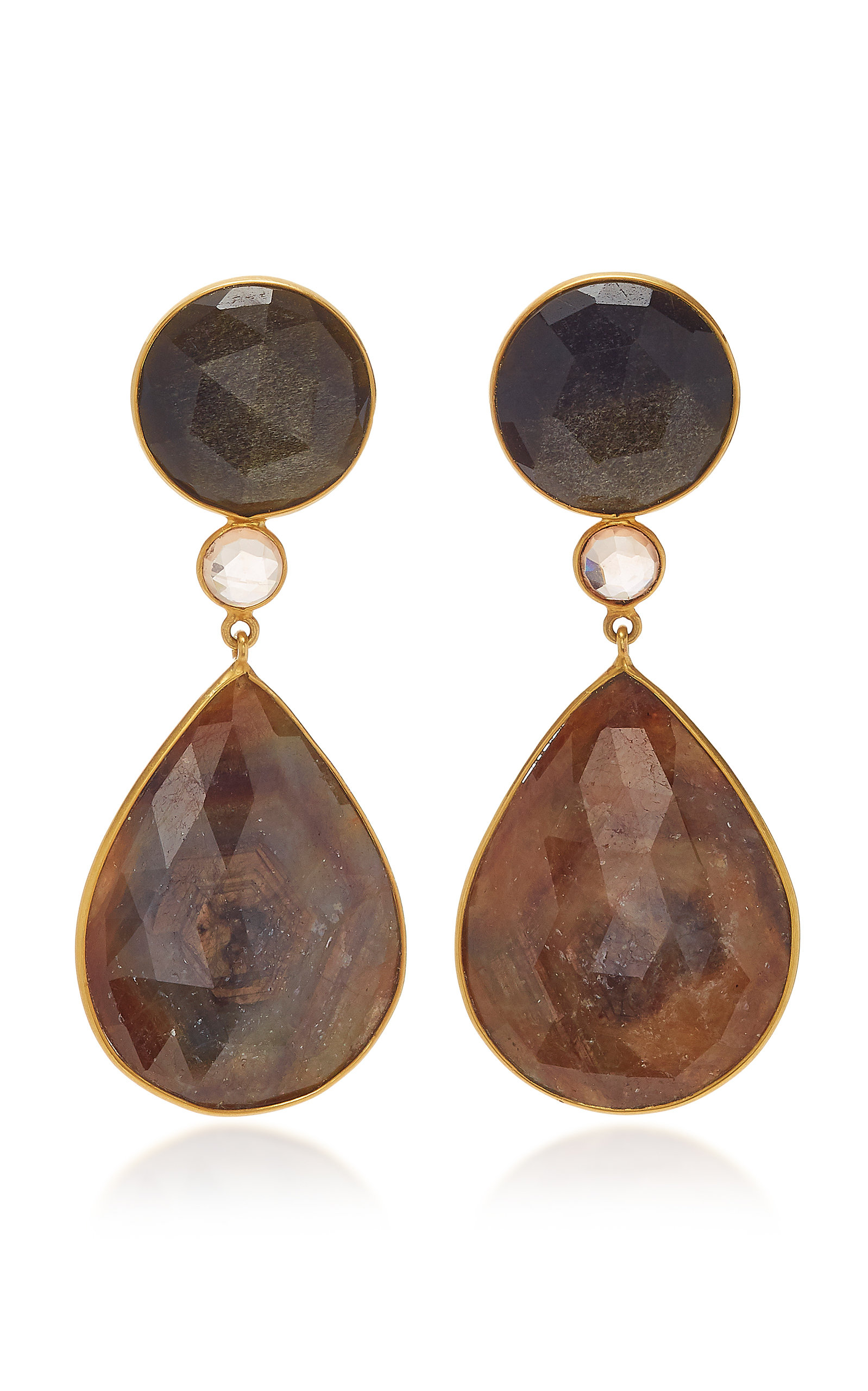 BAHINA 18K Gold Obsidian Zirconia And Sapphire Earrings in Grey