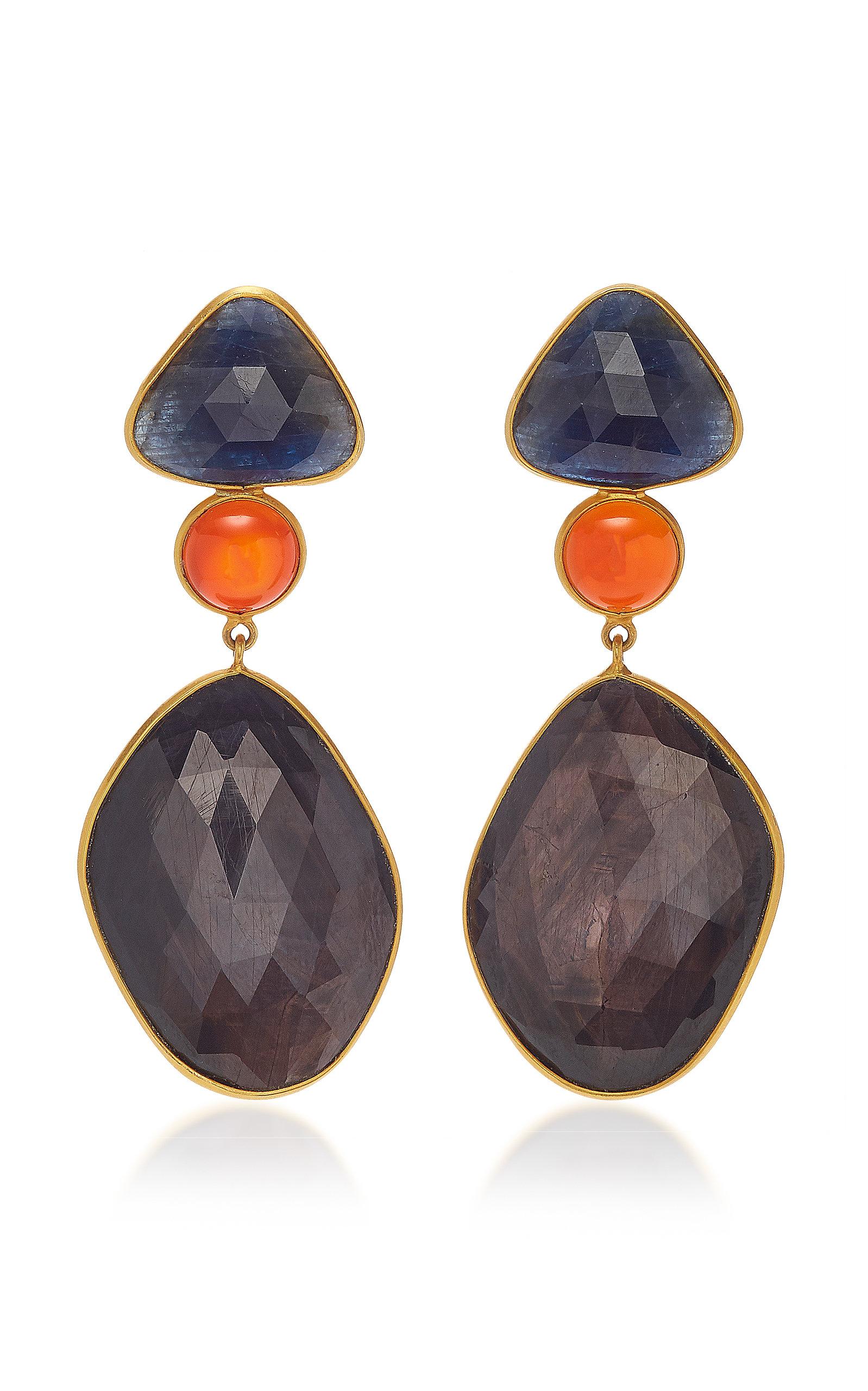 BAHINA 18K Gold Sapphire And Carnelian Earrings in Blue