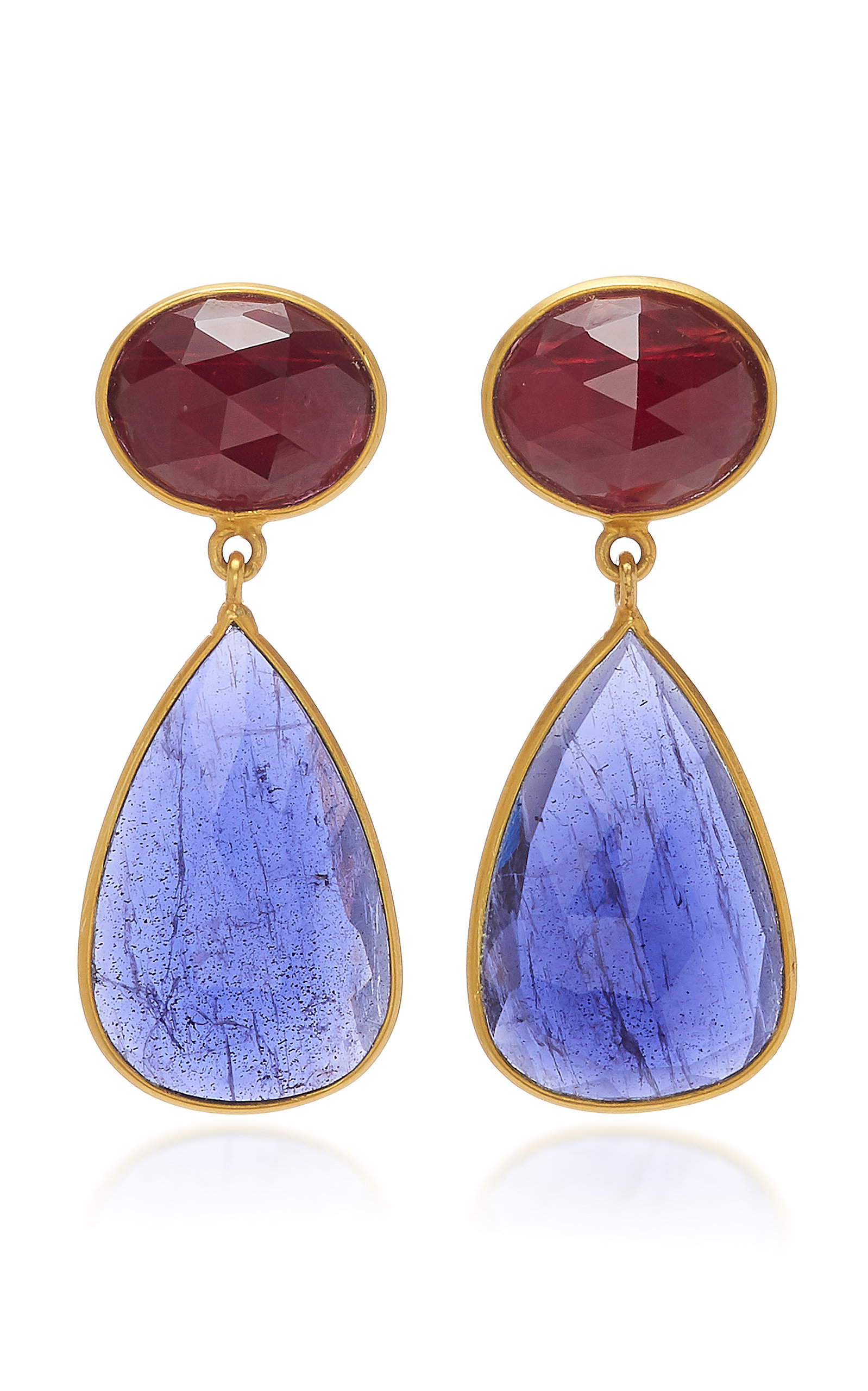 BAHINA 18K Gold Ruby And Iolith Earrings in Blue