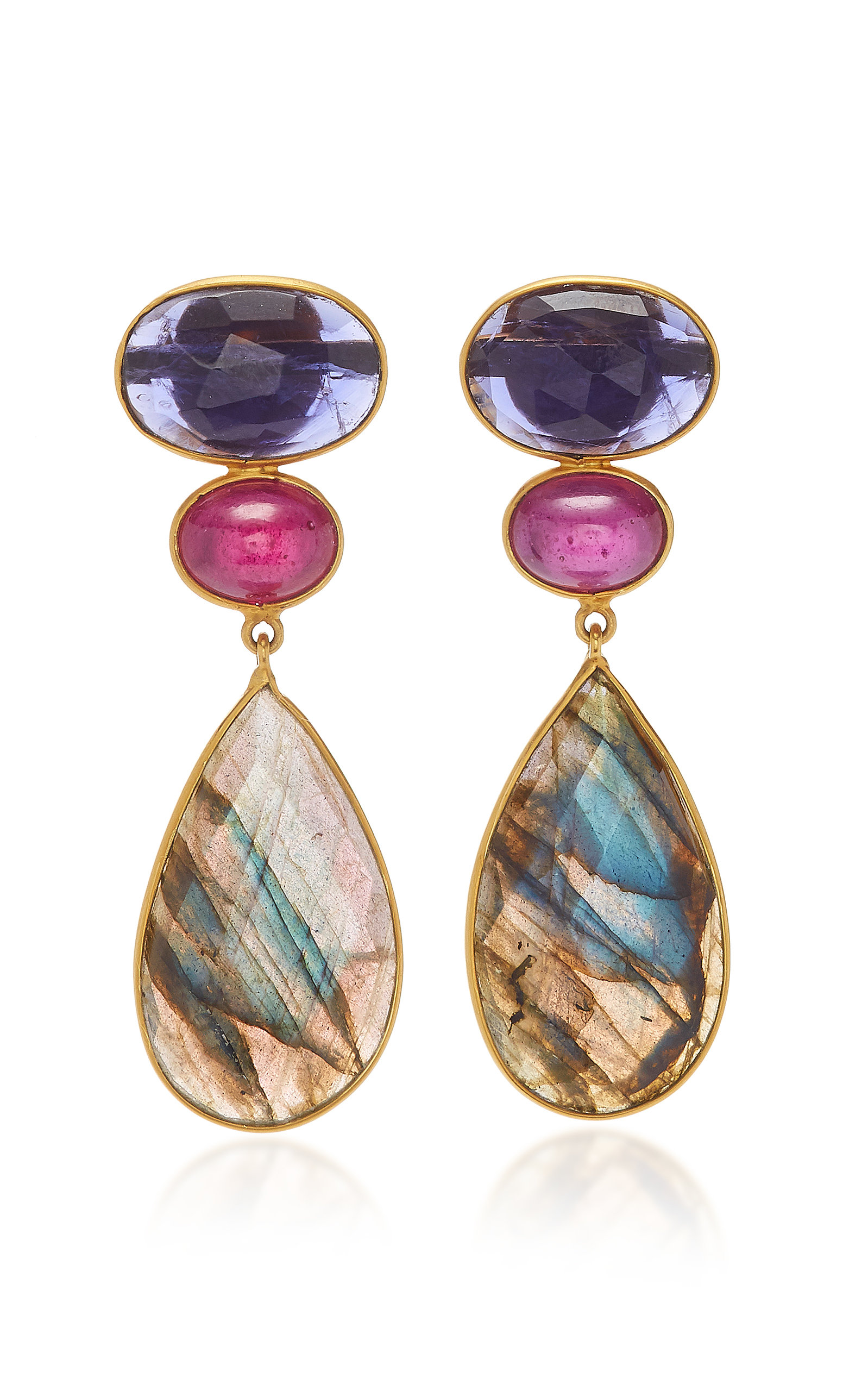 BAHINA 18K Gold Iolith Ruby And Labradorite Earrings in Blue