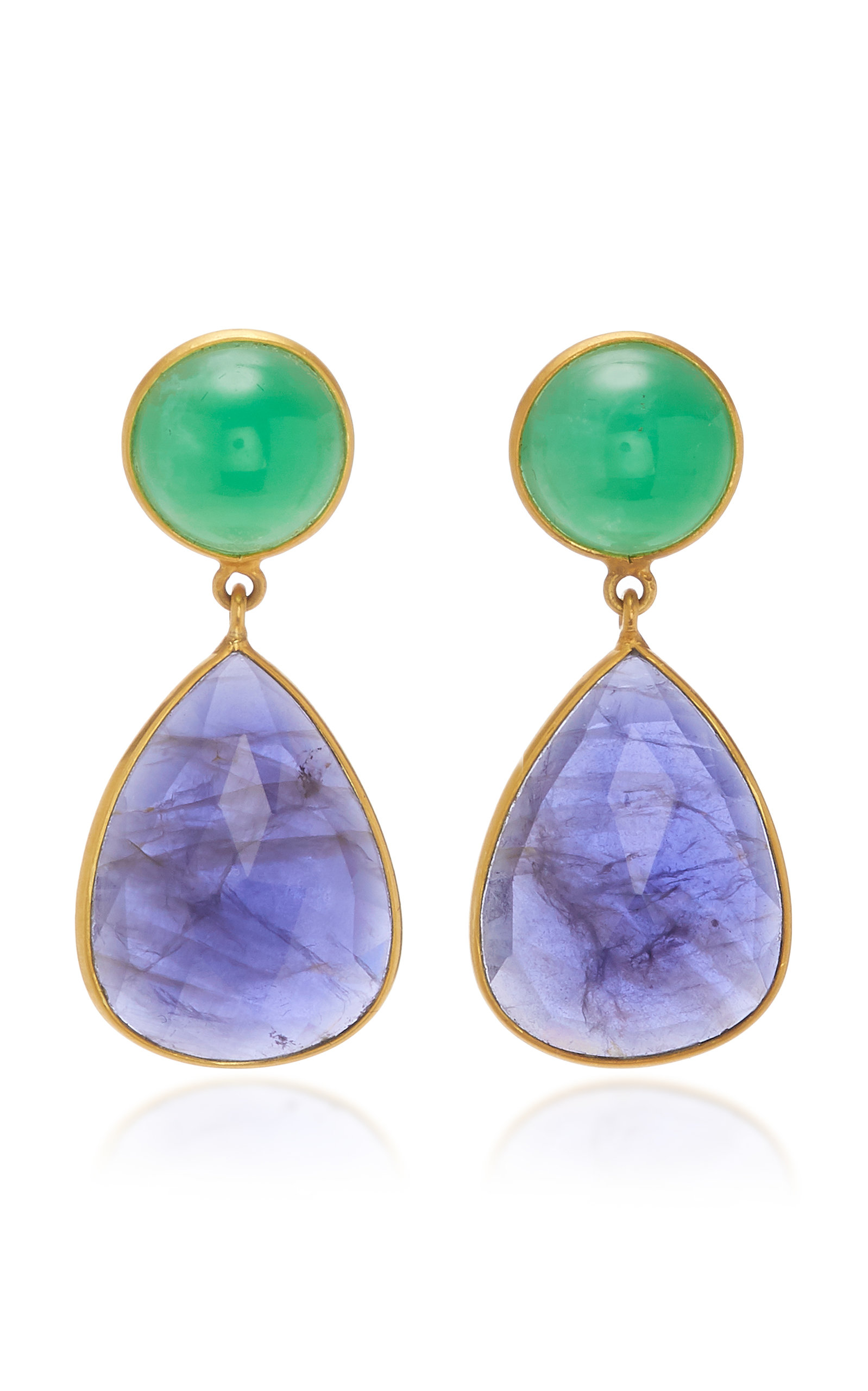 BAHINA 18K Gold Chrysoprase And Iolith Earrings in Green