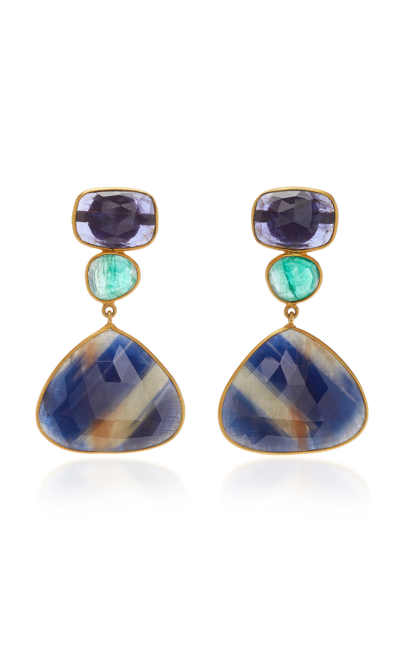 BAHINA 18K Gold Sapphire And Emerald Earrings in Green
