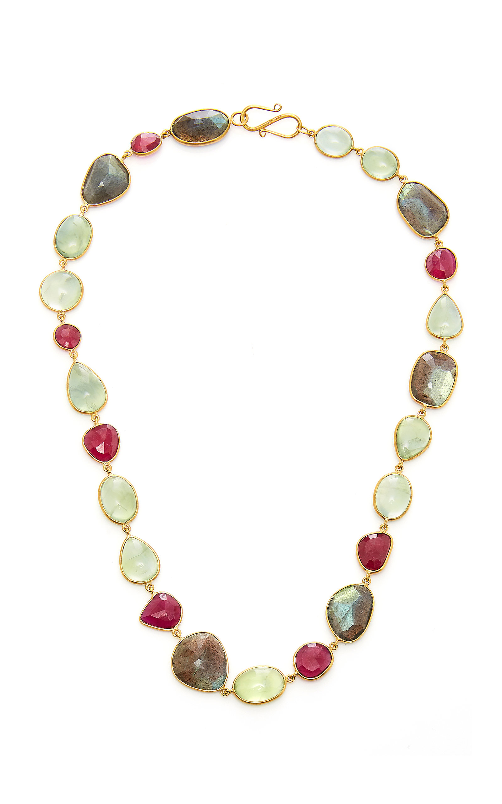 BAHINA 18K Gold Labradorite Praynite And Ruby Necklace in Multi