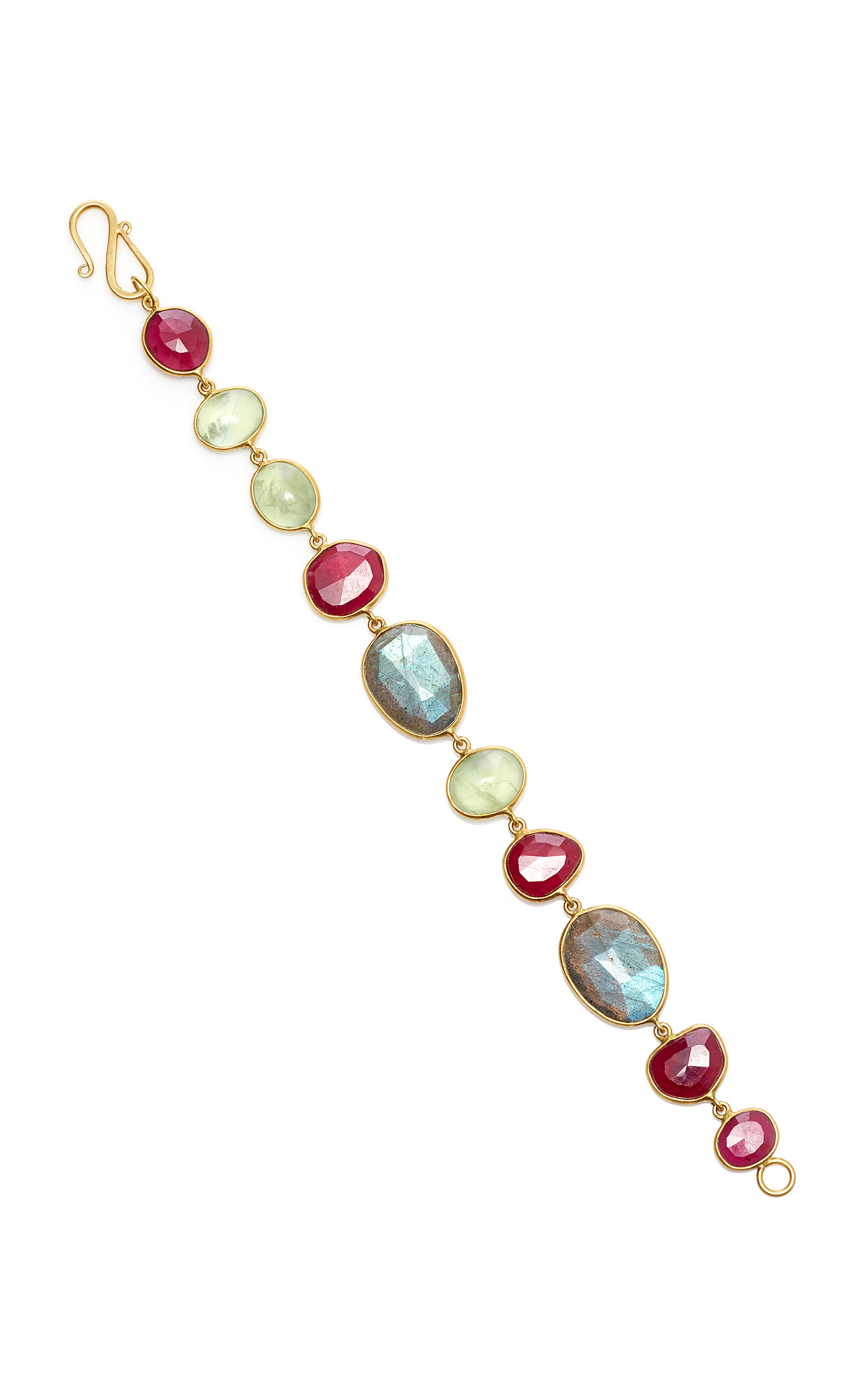 BAHINA 18K Gold Labradorite Praynite And Ruby Bracelet in Multi