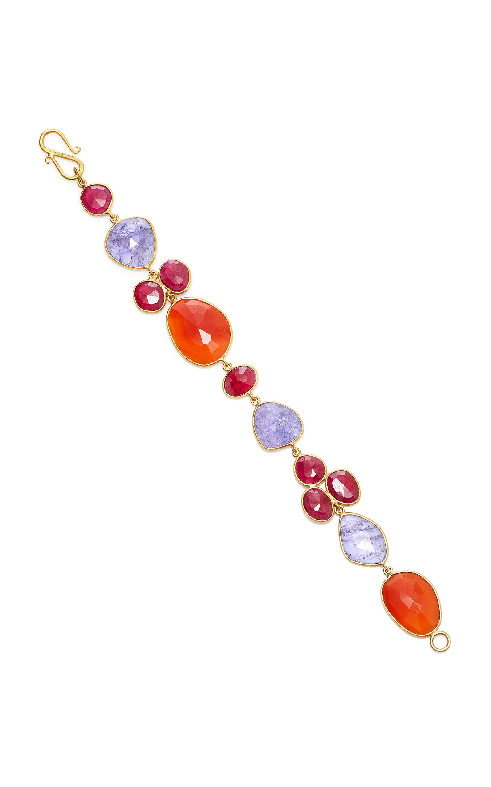 BAHINA 18K Gold Tanzanite Ruby And Carnelian Bracelet in Multi
