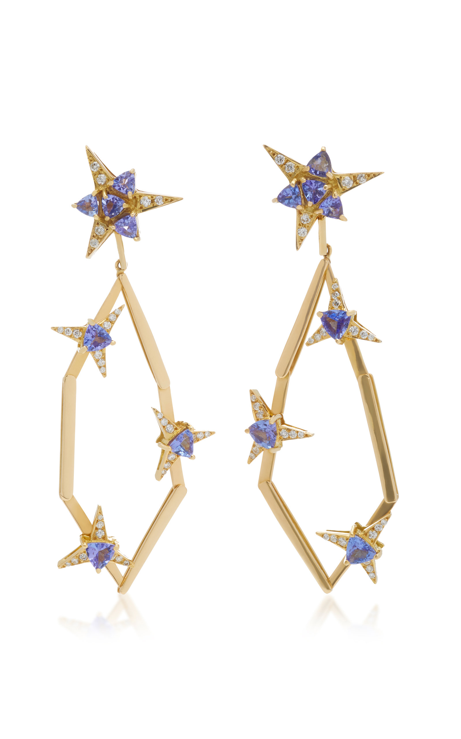 CAROL KAUFFMANN Galactic Star 18K Gold Tanzanite And Diamond Drop Earrings in Blue