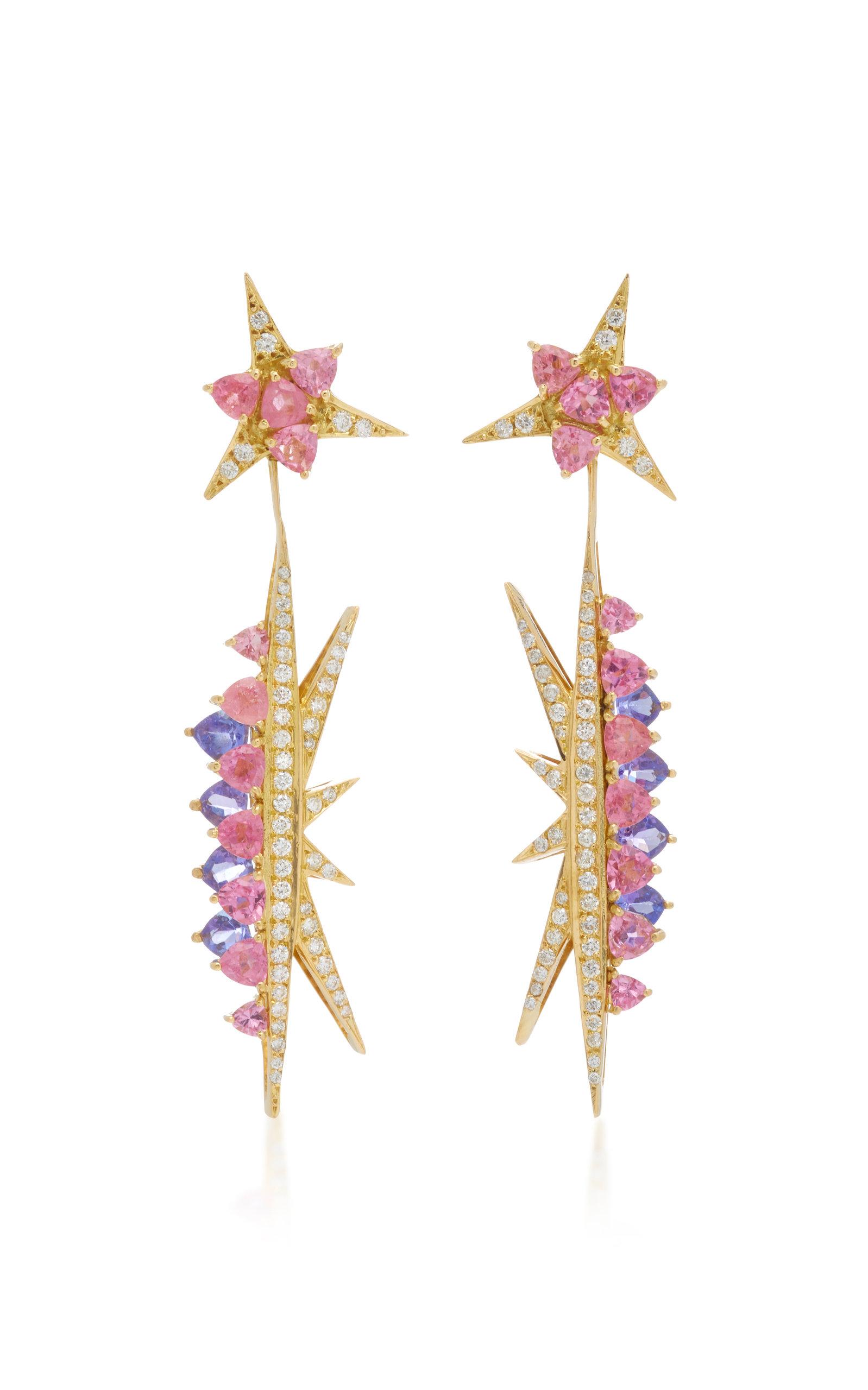 6d57b9b91 Carol KauffmannGalactic Electra 18K Gold, Pink Tourmaline, Tanzanite And Diamond  Drop Earrings