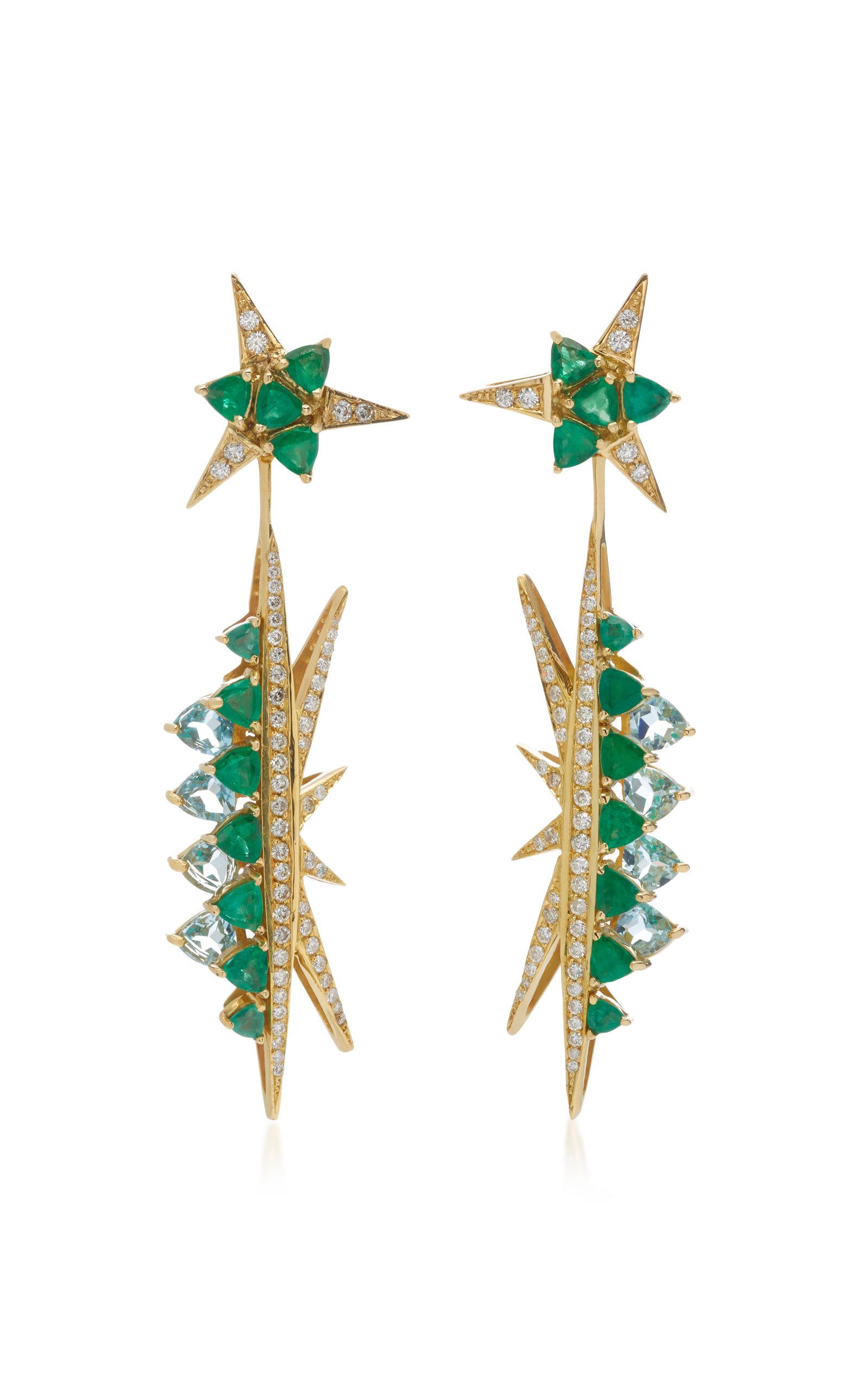 CAROL KAUFFMANN Galactic Electra 18K Gold Emerald Blue Topaz And Diamond Drop Earrings in Green