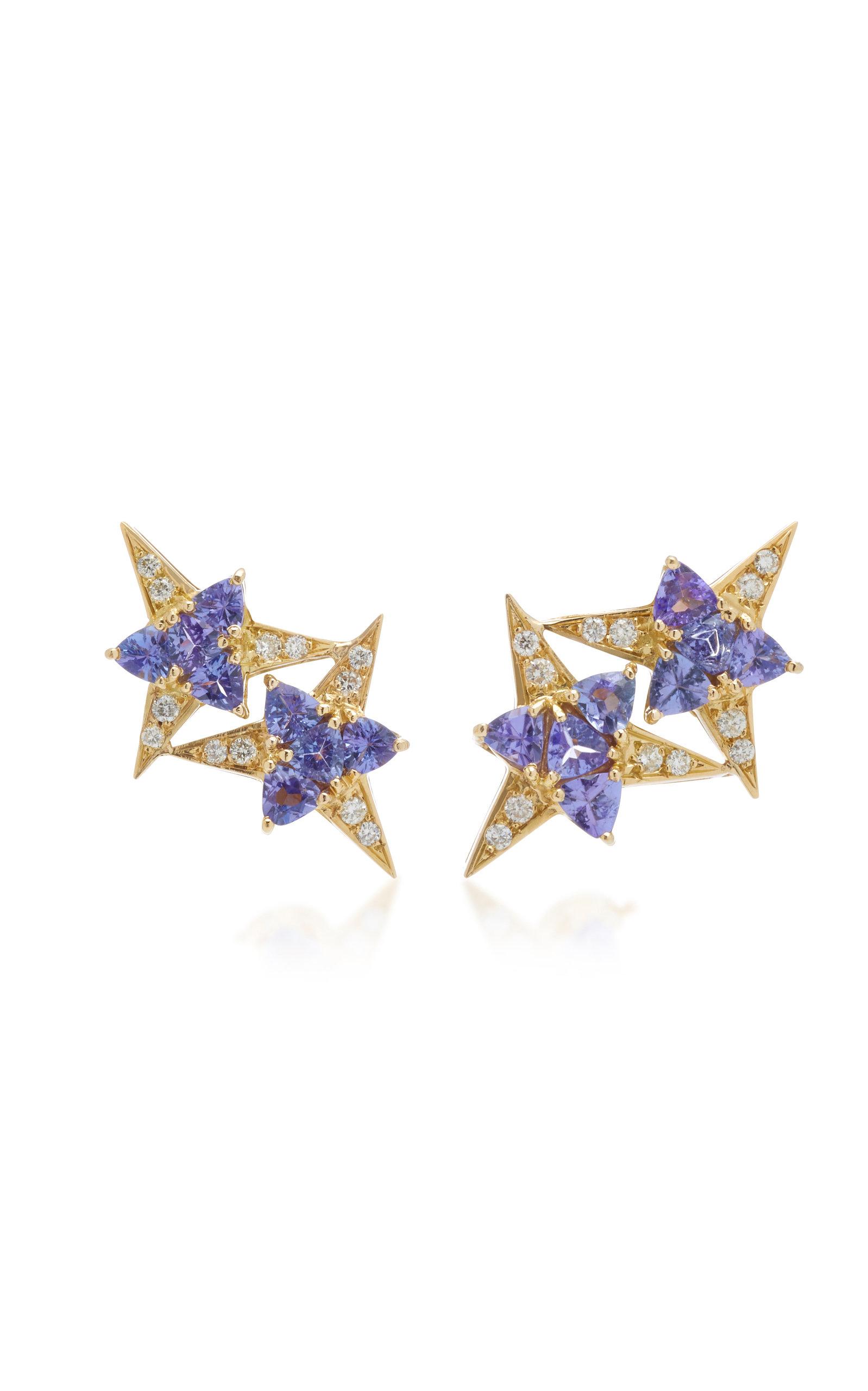 CAROL KAUFFMANN Galactic Star 18K Gold Tanzanite And Diamond Earrings in Blue