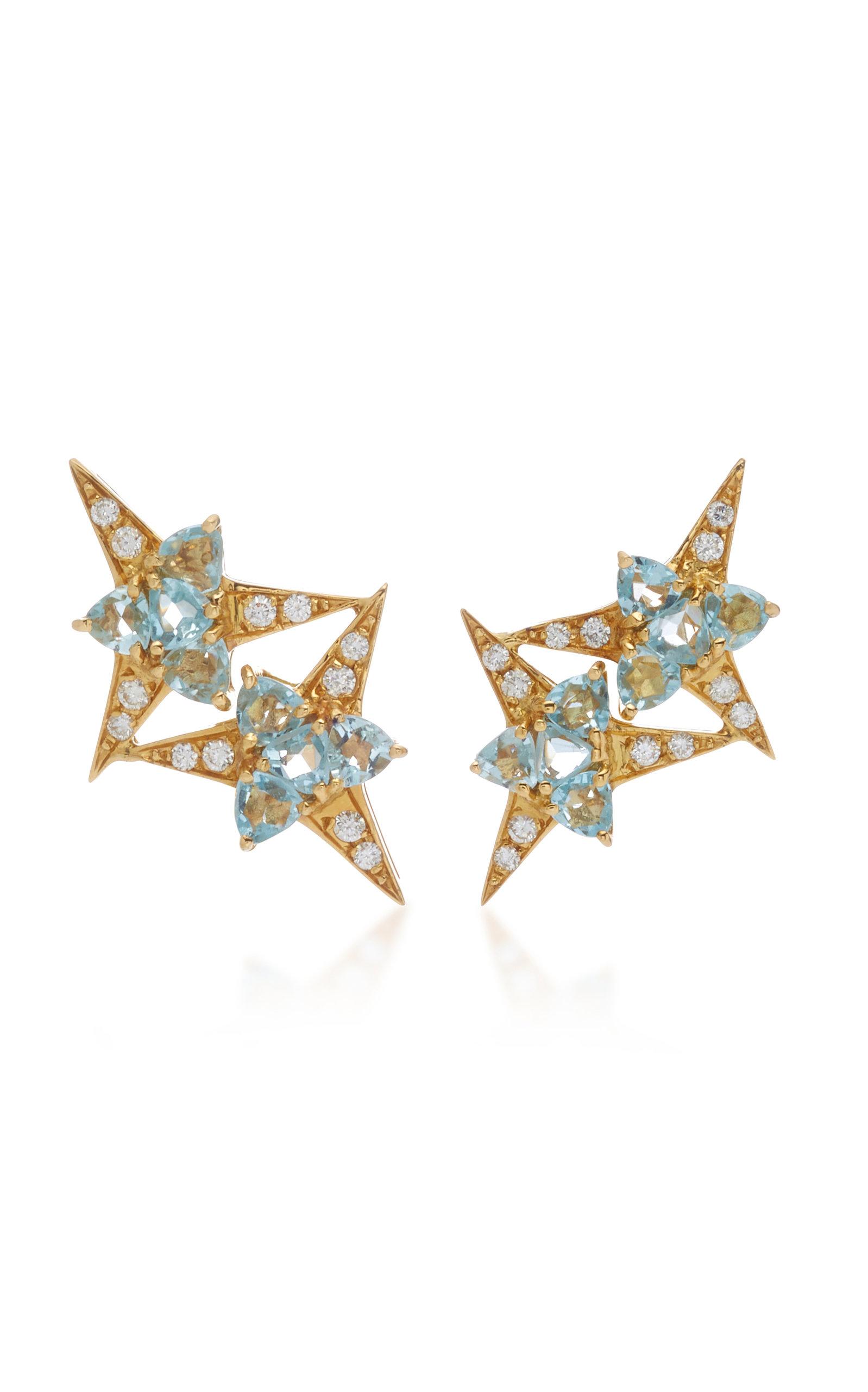 CAROL KAUFFMANN Galactic Star 18K Gold Aquamarine And Diamond Earrings in Blue