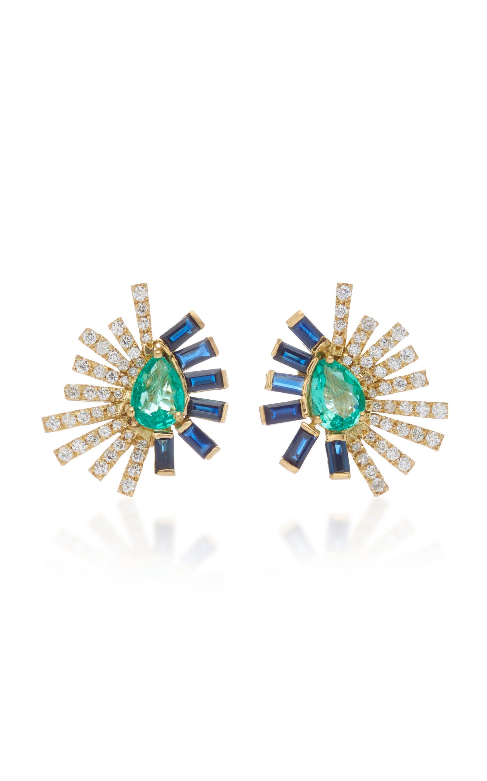 CAROL KAUFFMANN La Belle Duo 18K Gold Emerald Ruby And Diamond Earrings in Blue