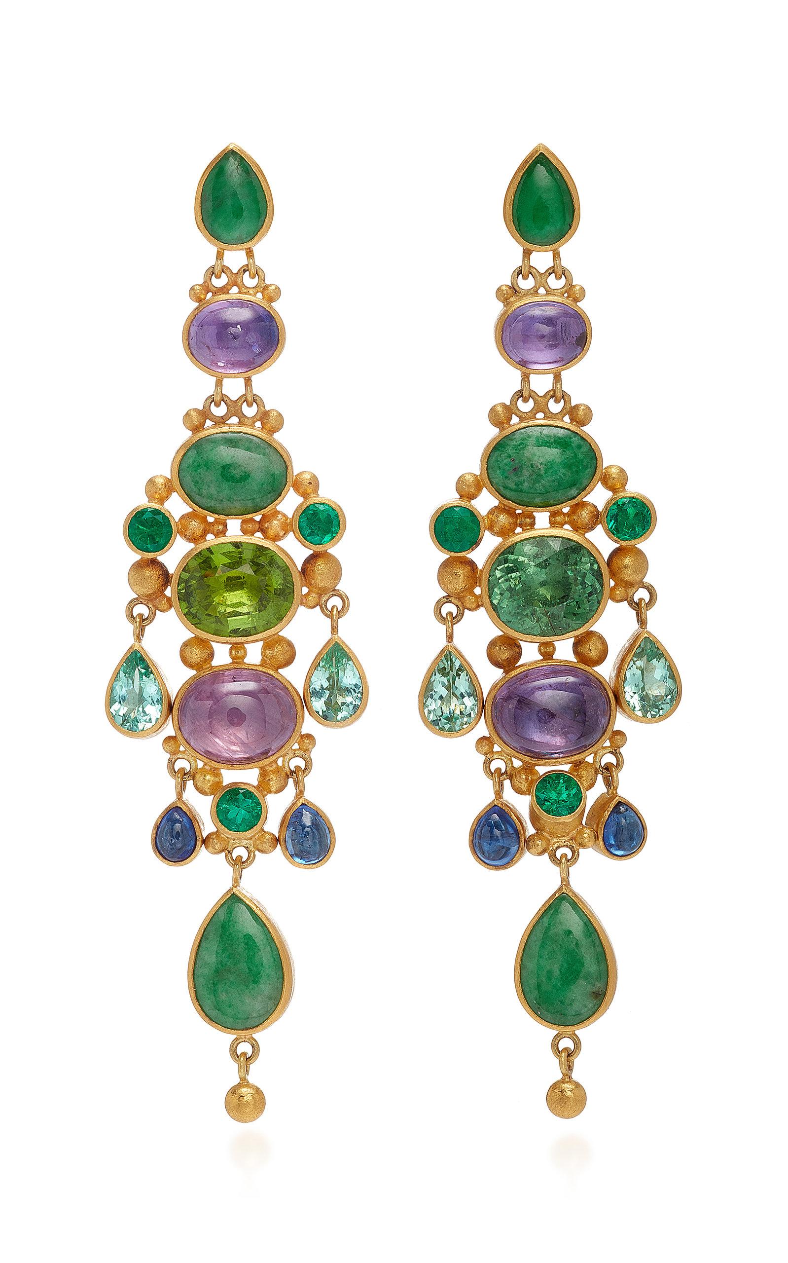 MALLARY MARKS Chandelier 18K Gold And Multi-Stone Earrings