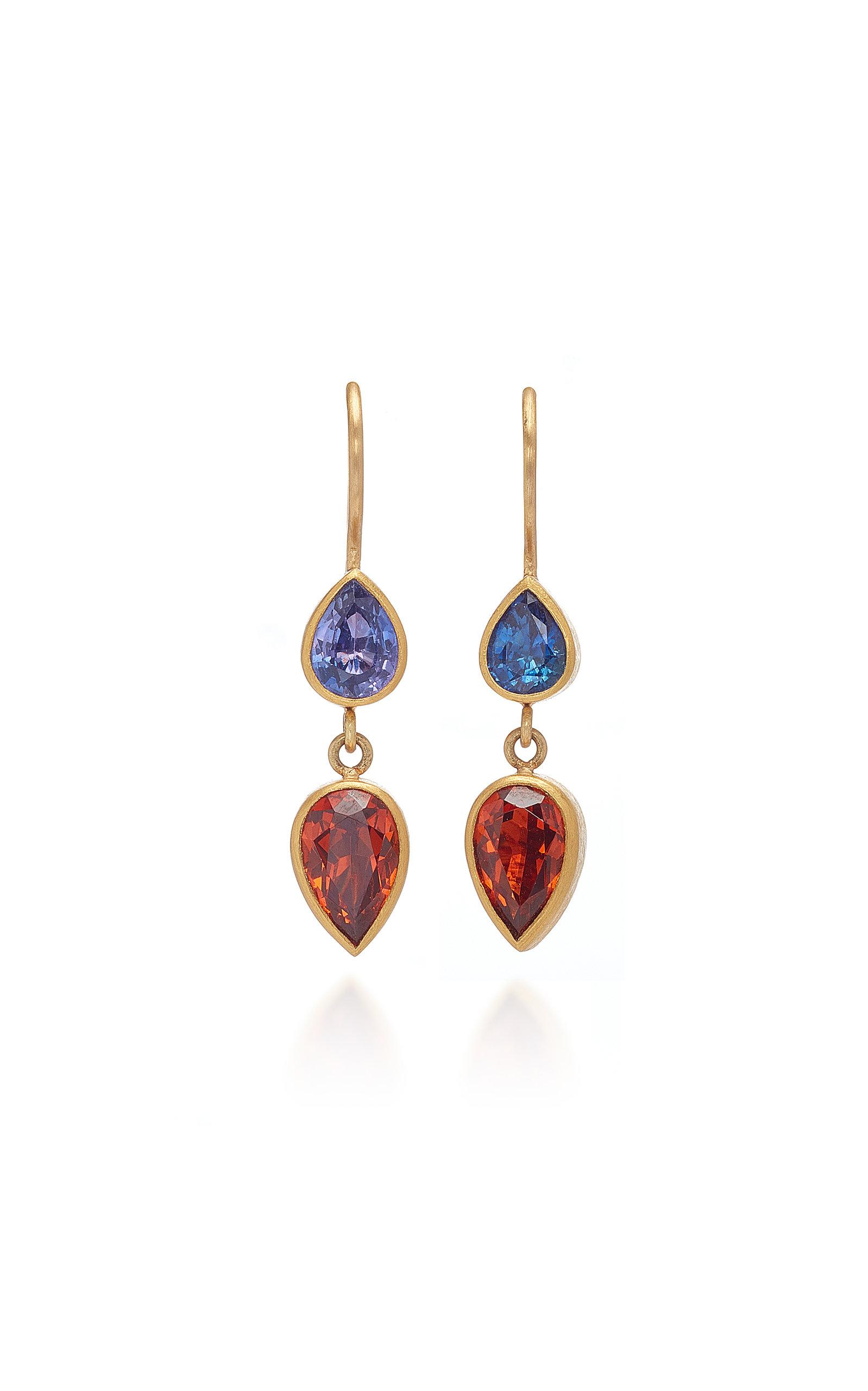 MALLARY MARKS Bon Bon 18K Gold Sapphire And Garnet Earrings in Multi