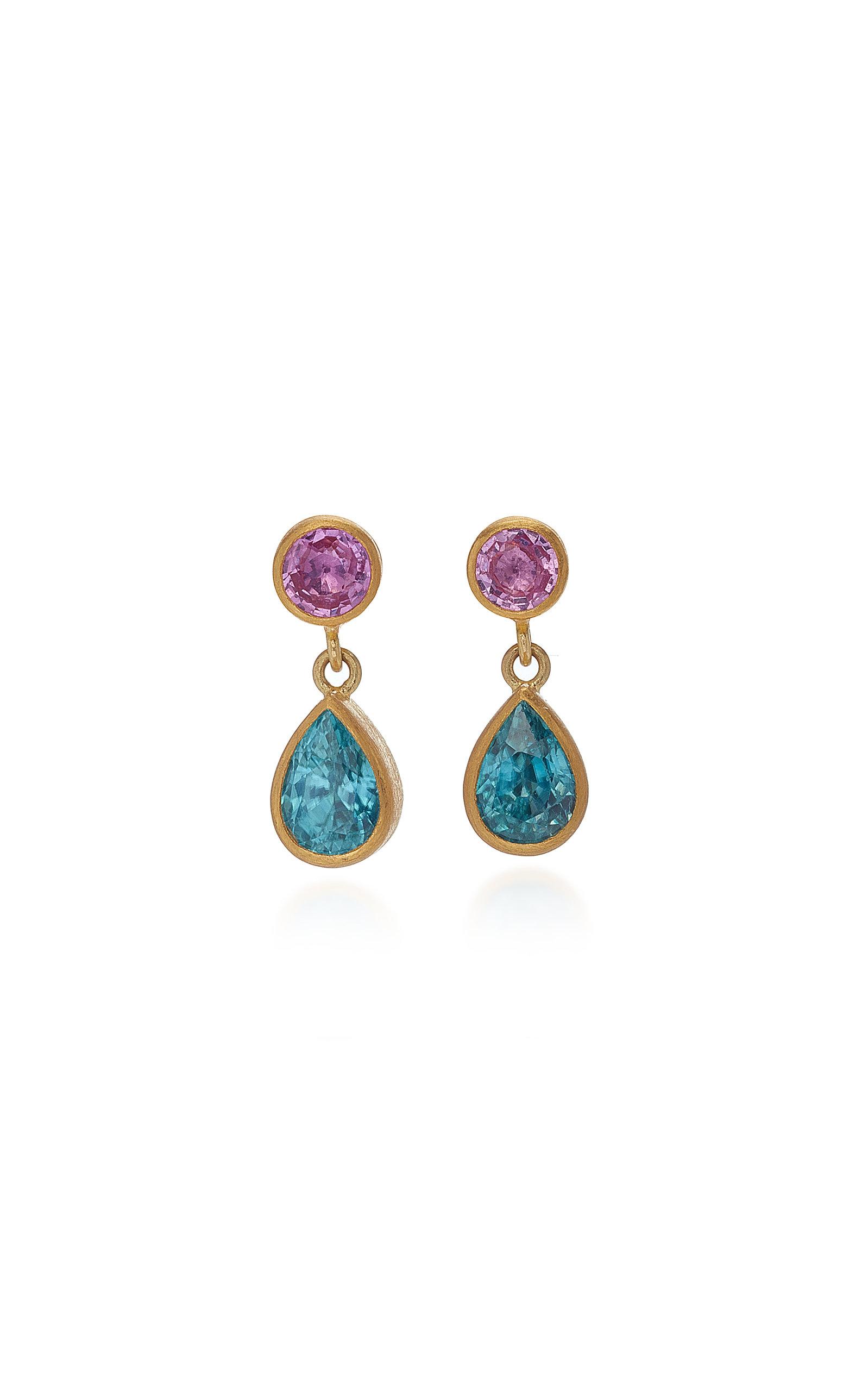 MALLARY MARKS Bon Bon 18K Gold Pink Sapphire And Zircon Earrings in Multi