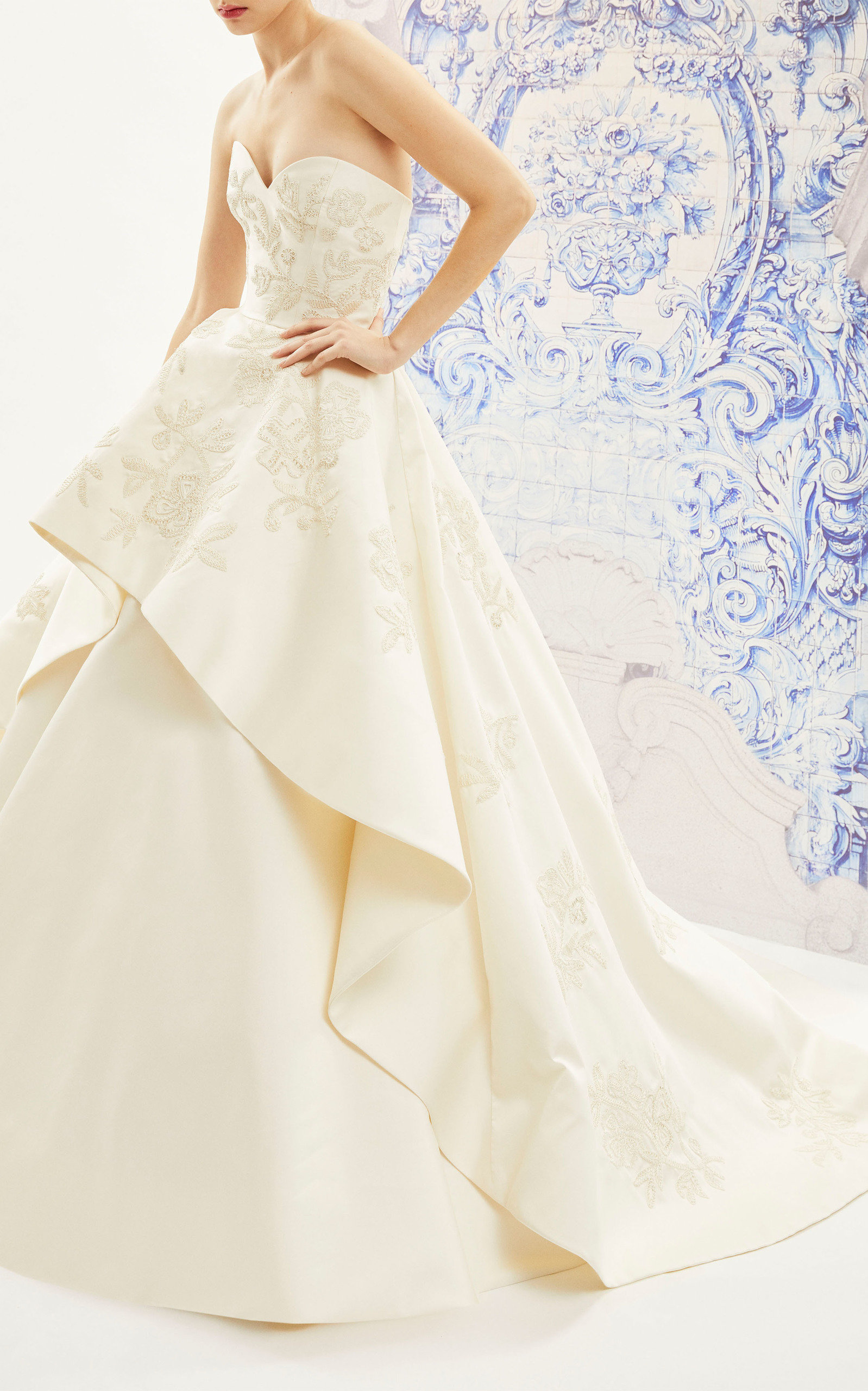 CAROLINA HERRERA BRIDAL Ivonne Strapless Silk Ballgown With Floral Embroidered Tiered Skirt in Ivory