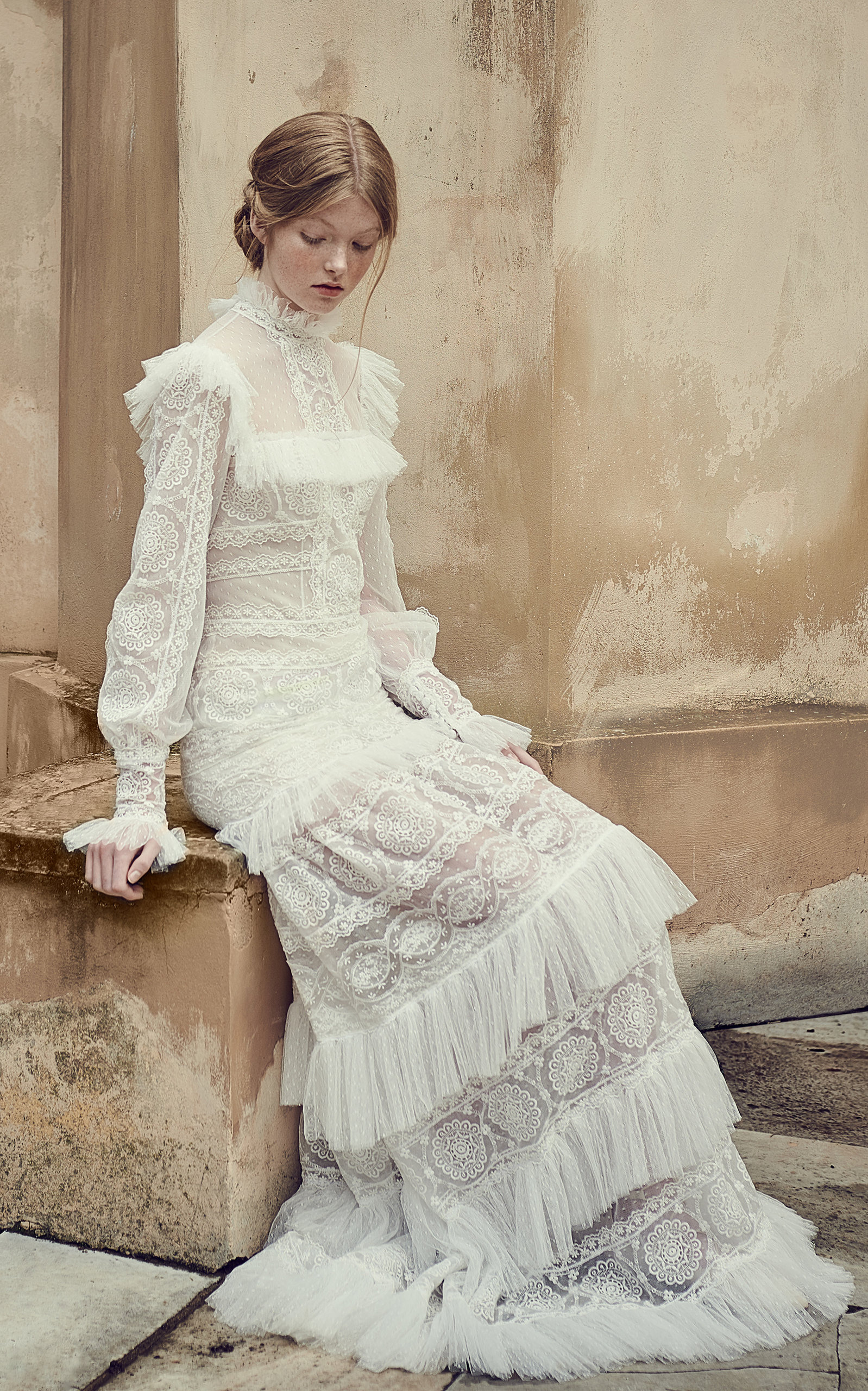 COSTARELLOS BRIDAL Mock-Neck Ruffled Mesh Dress in White