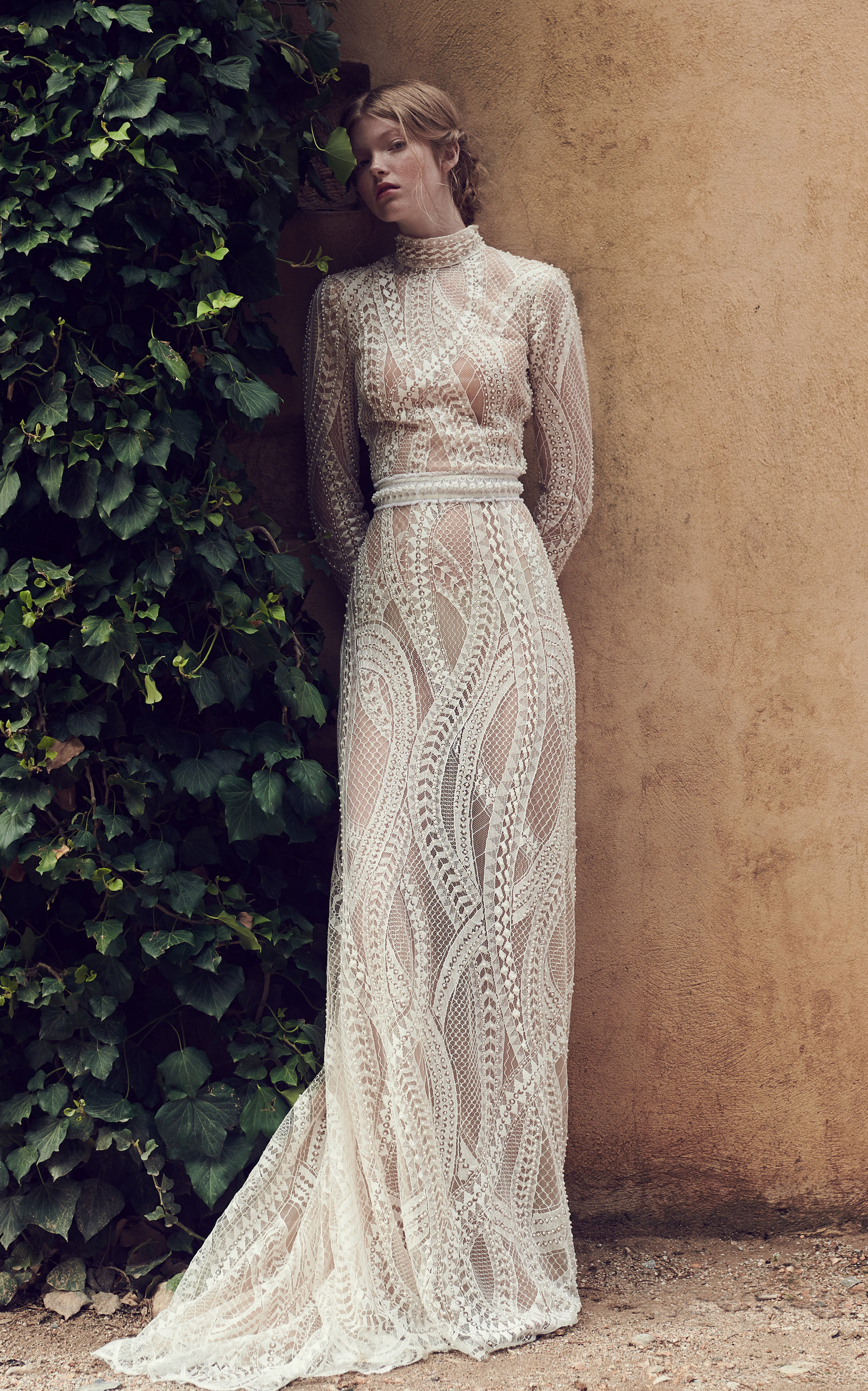 COSTARELLOS BRIDAL Abstract Embroidered Long Tulle Gown in White