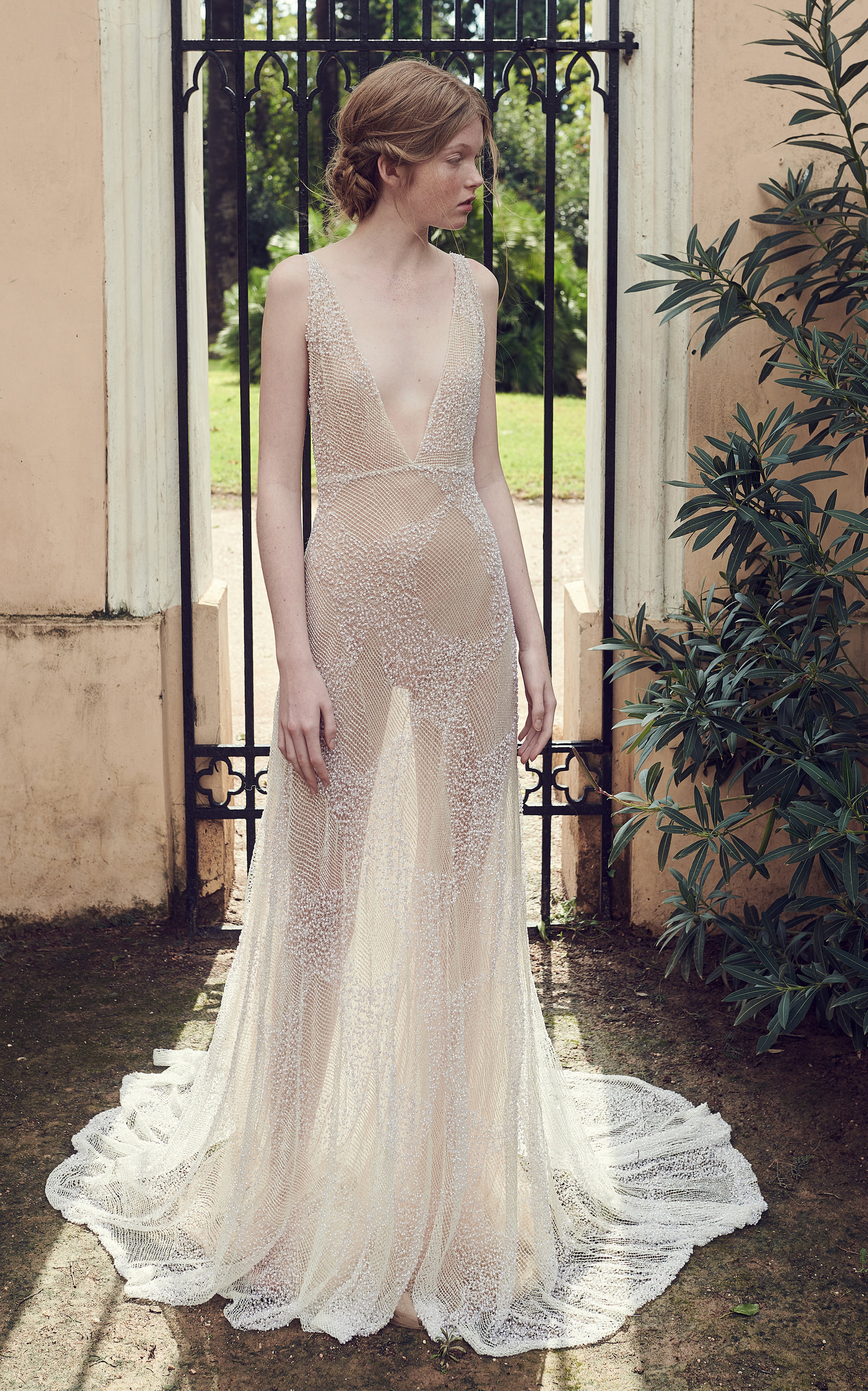 COSTARELLOS BRIDAL Beaded Tulle Plunging V-Neck Gown in Neutral