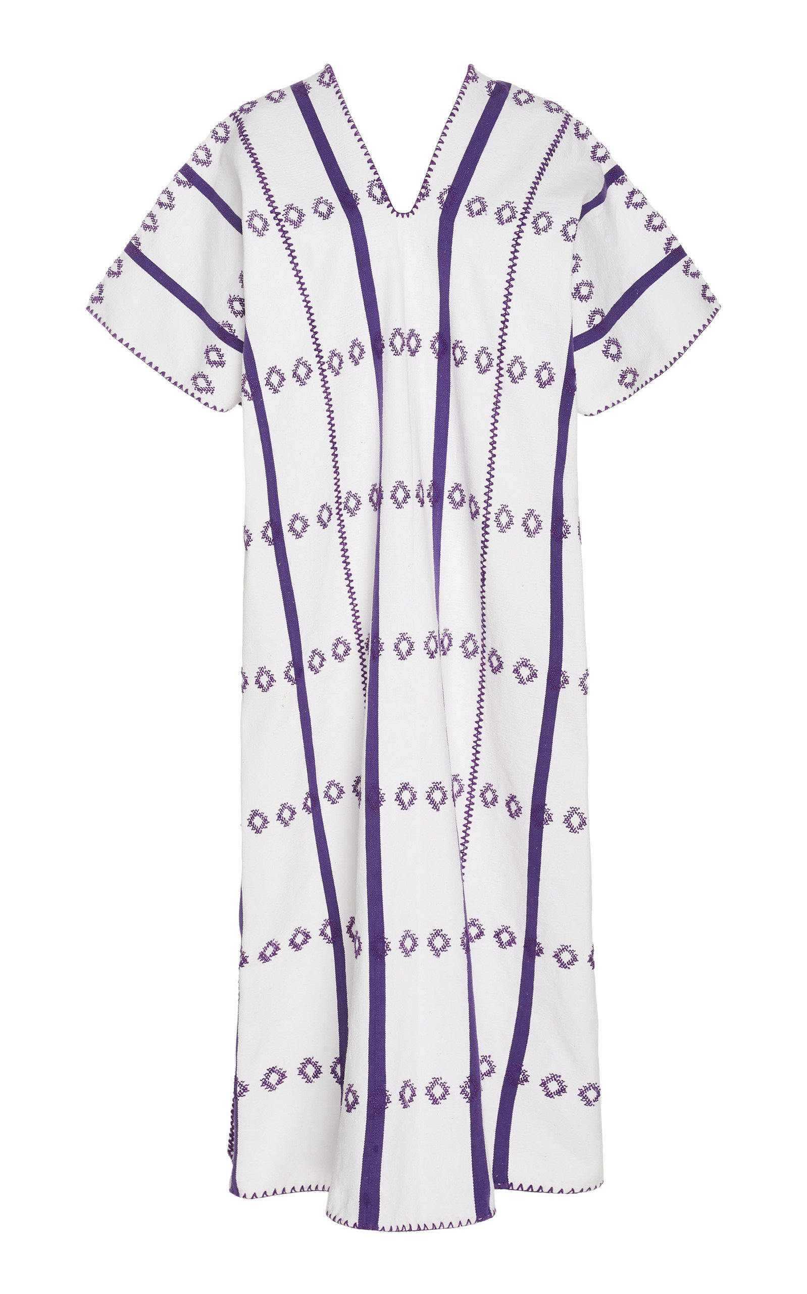 PIPPA HOLT   Pippa Holt White And Purple Cotton Midi Caftan   Goxip