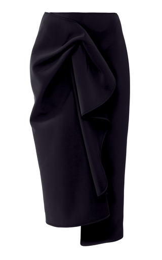 Acler CRAWFORD ASYMMETRIC GATHERED CREPE DE CHINE MIDI SKIRT