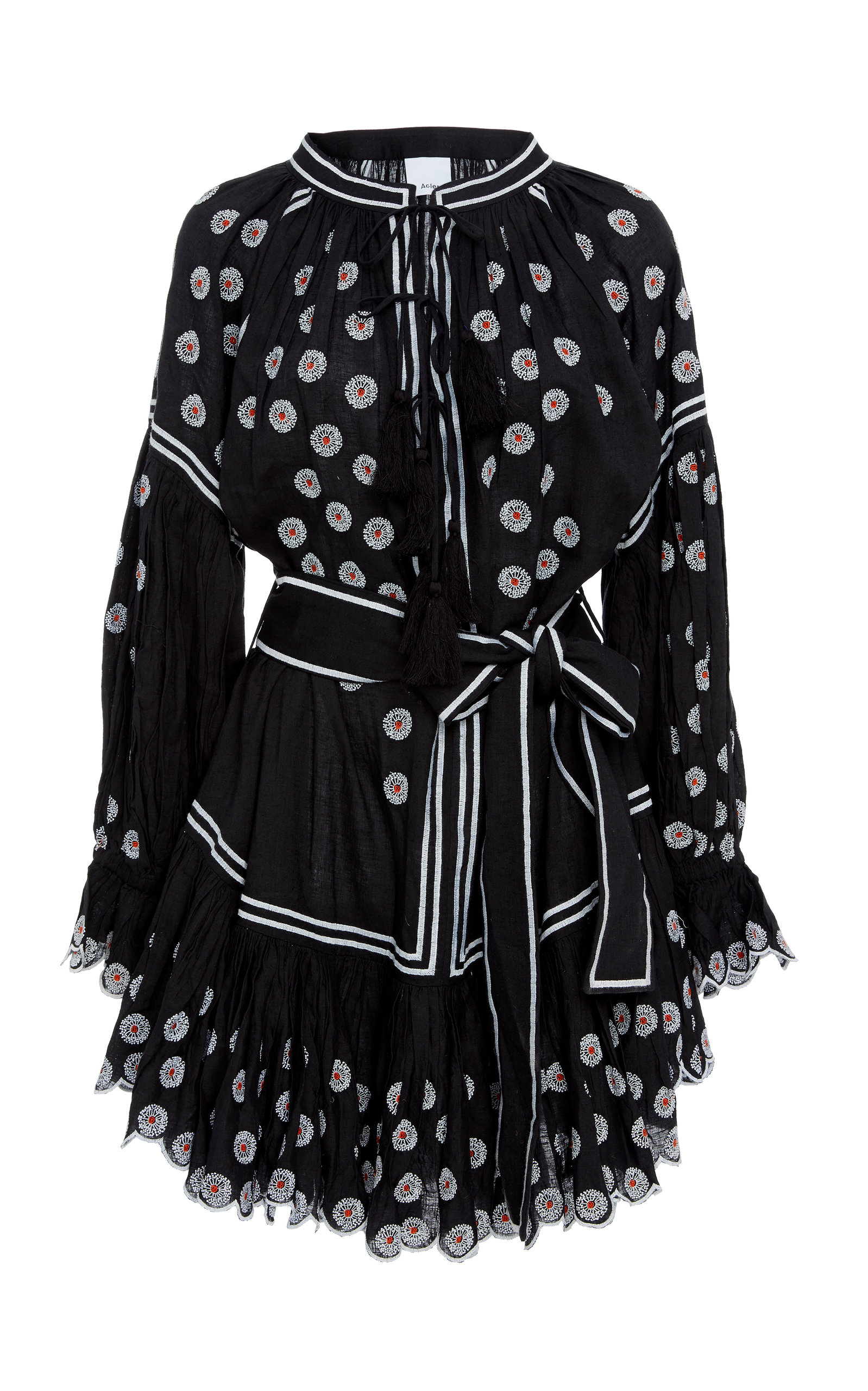 Acler SPENCER EMBROIDERED BROADCLOTH MINI DRESS